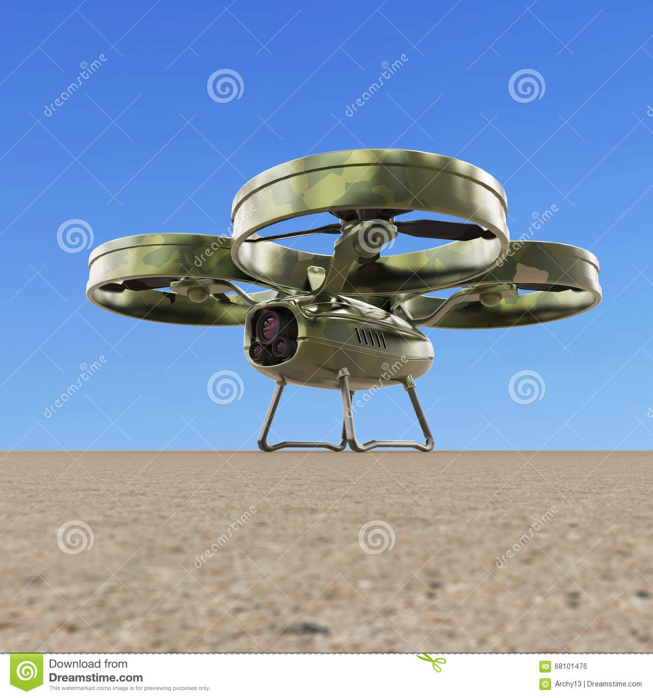 One Military Quadrocopter Drone With Camera Camouflage Paint Render