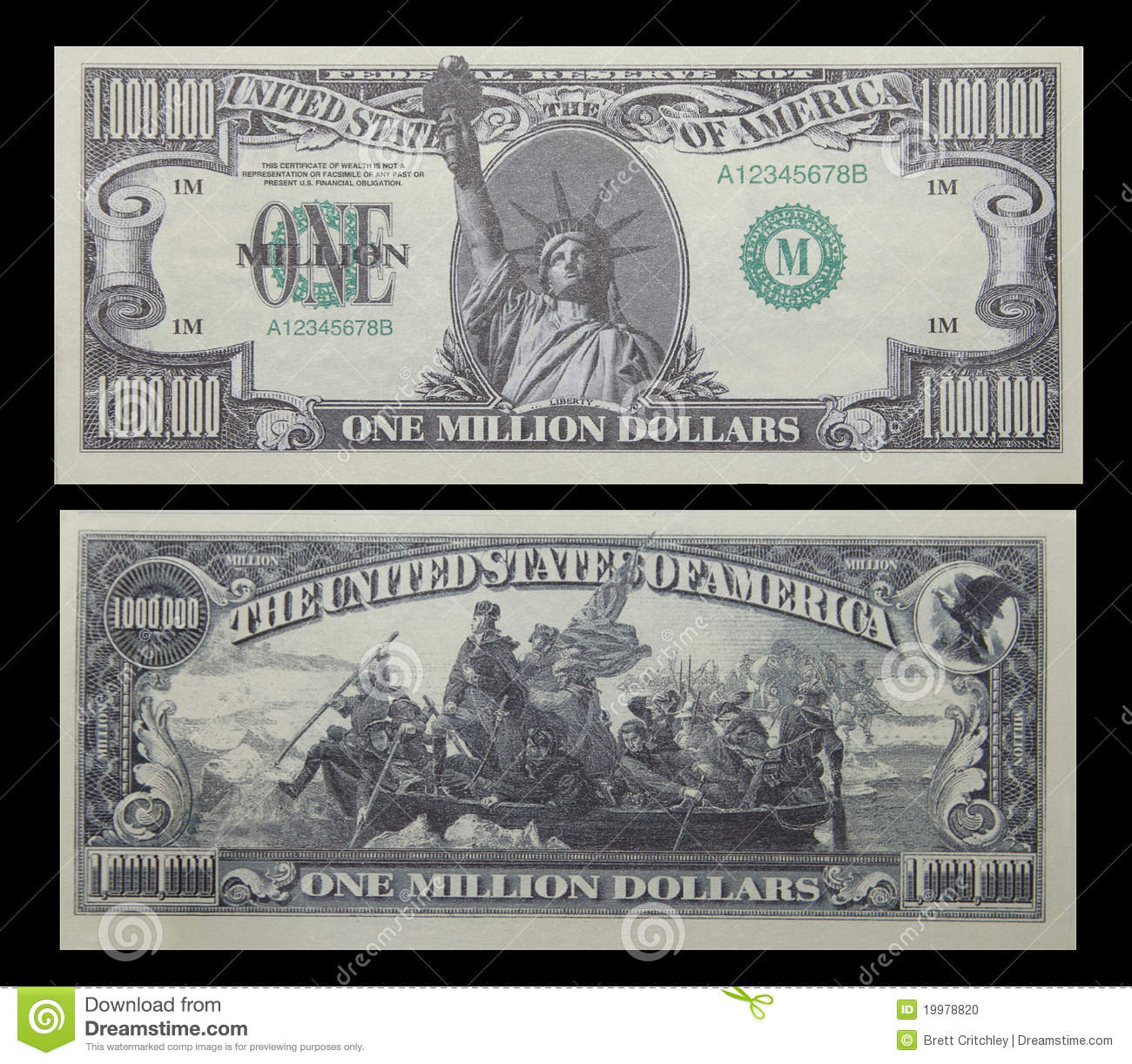One Million Dollar Bill American Money Fake 1 Mill Note