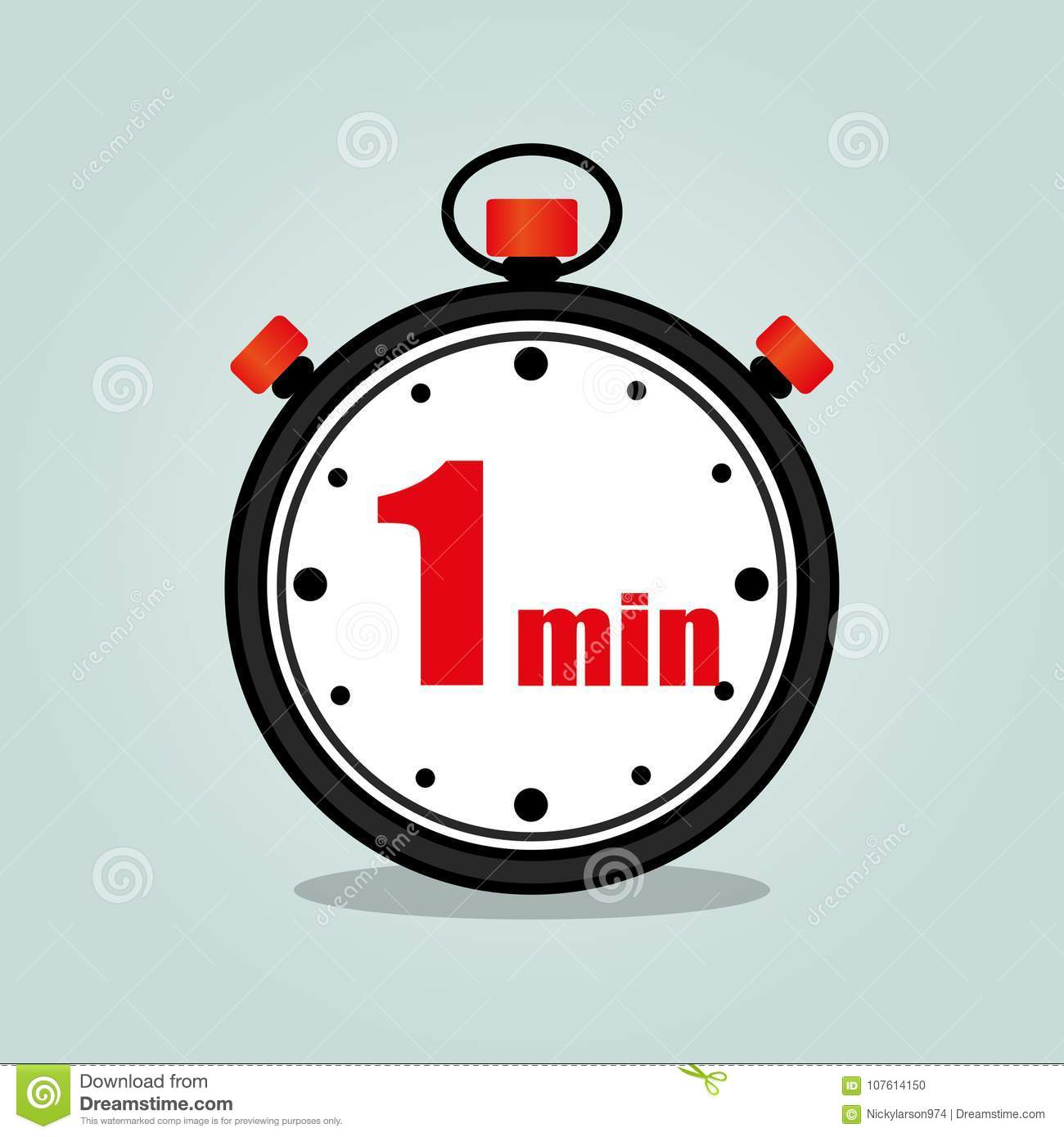 One Minute Stopwatch Isolated Stock Vector - Illustration of