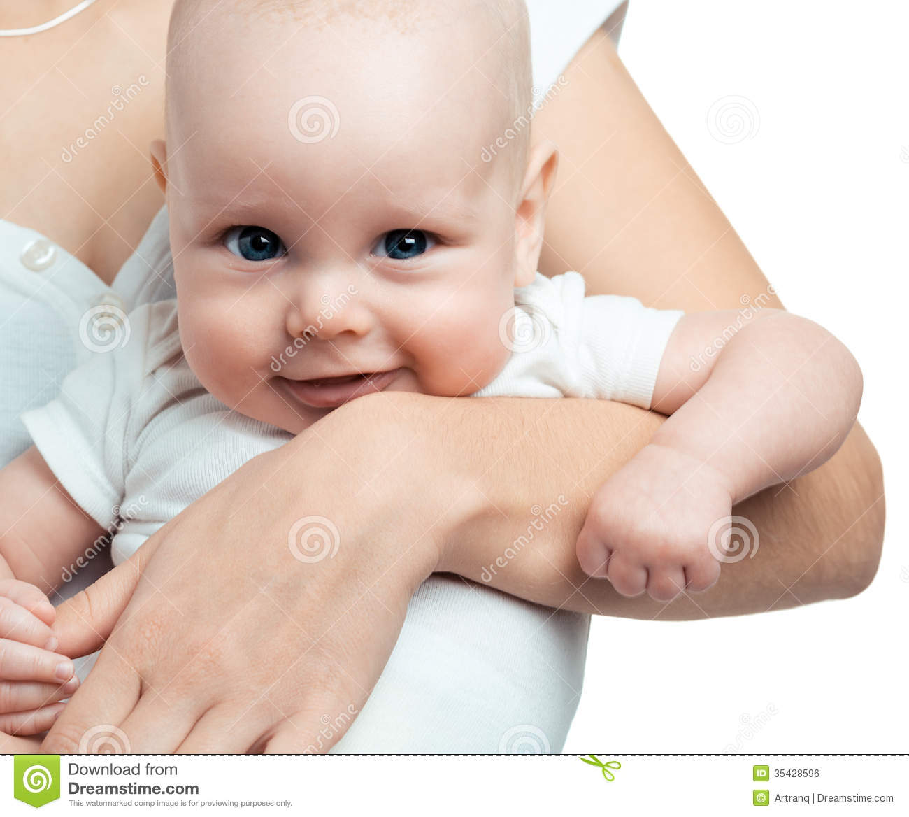 One month old baby boy in the comfort of moms arms royalty free stock