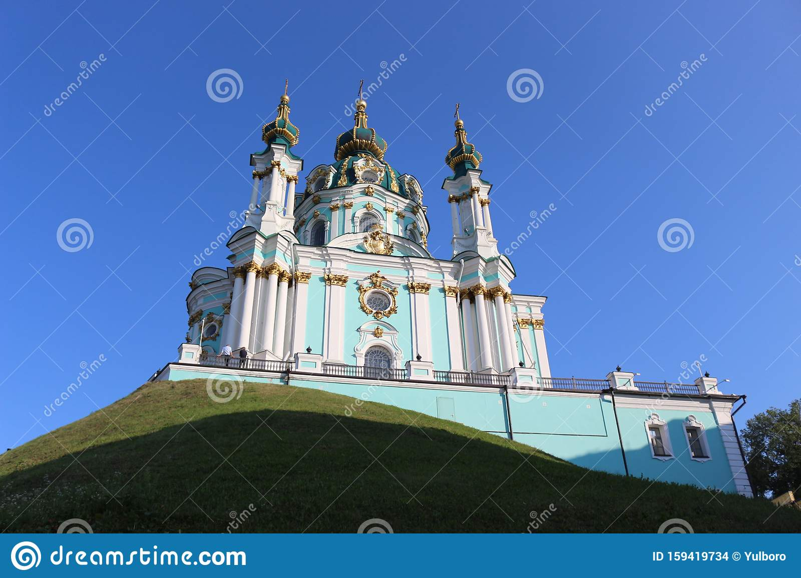 One Of The Most Beautiful Churches In Ukraine Is Located In Kiev This Is A Temple In Honor Of Andrew The Apostle Jesus Christ Stock Photo Image Of Christian Kiev 159419734