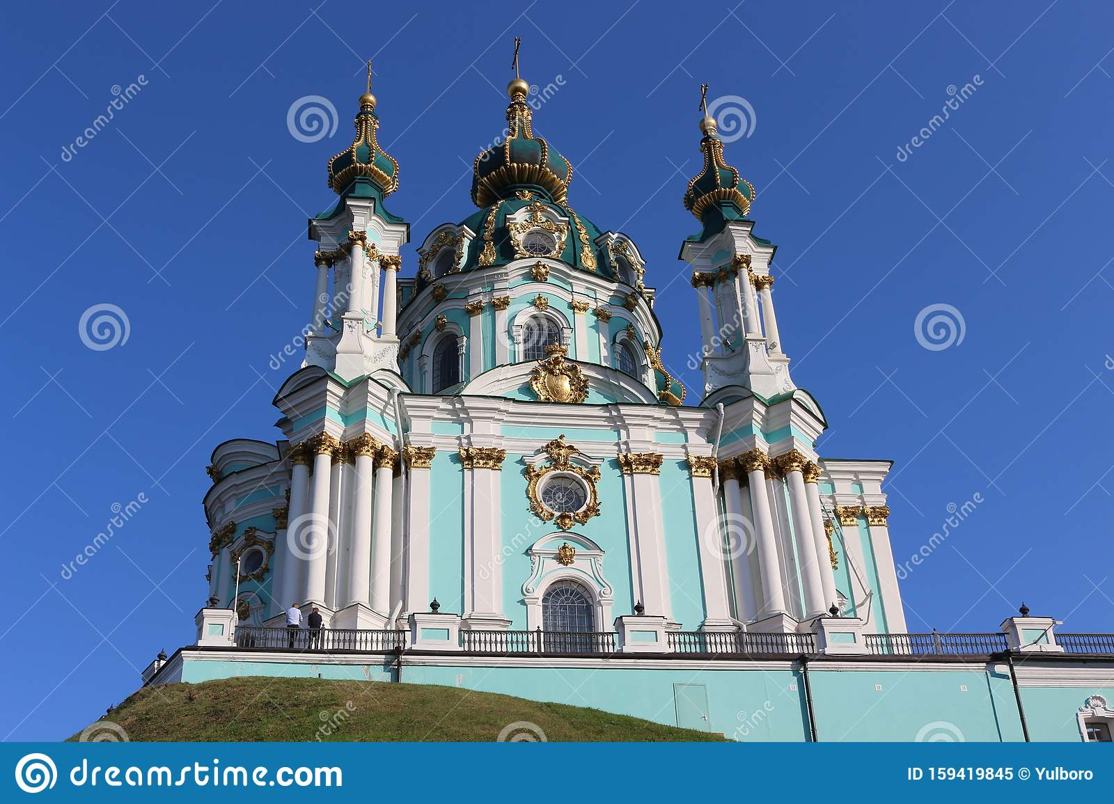 One Of The Most Beautiful Churches In Ukraine Is Located In Kiev This Is A Temple In Honor Of Andrew The Apostle Jesus Christ Stock Image Image Of Churches Historic 159419845