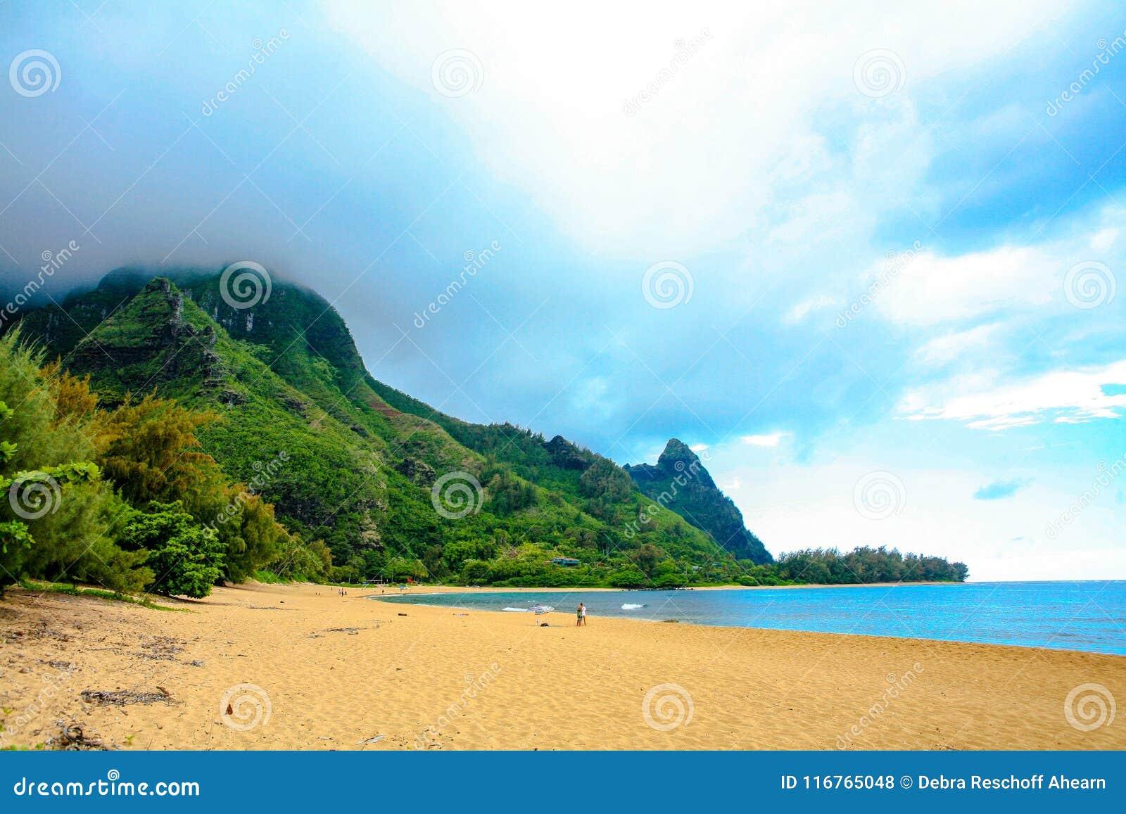 Where Is Bali Hai Island tunnels beach, with makana mountain or bali hai stock photo
