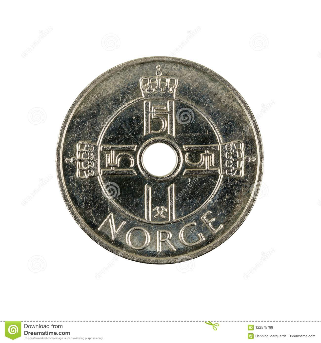 One Norwegian Krone Coin 2010 Stock Photo Image Of Savings Money