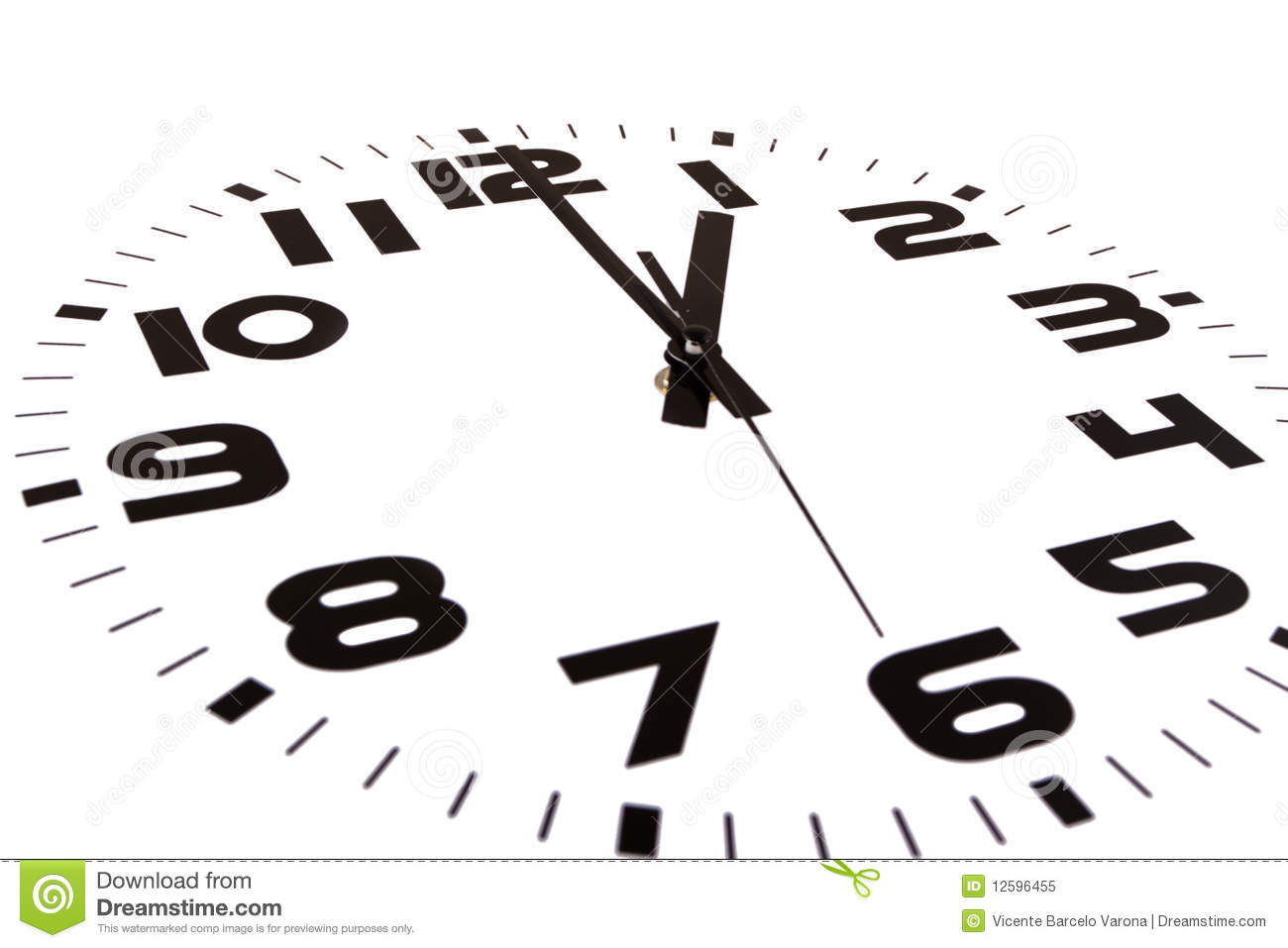 Clock isolated on white marking the one o'clock hour. The main focus ...