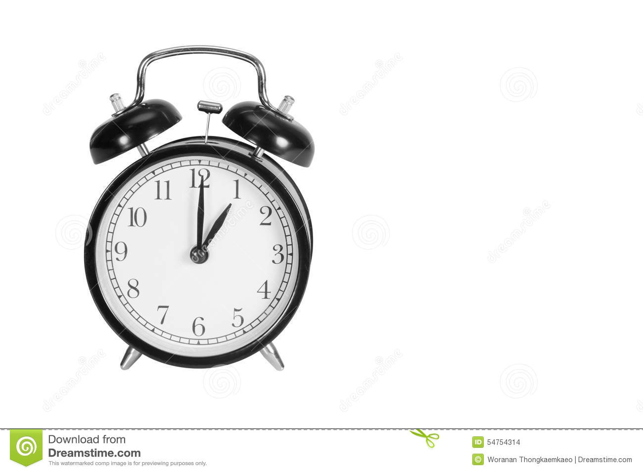 one o u0026 39  clock on alarm clock stock photo