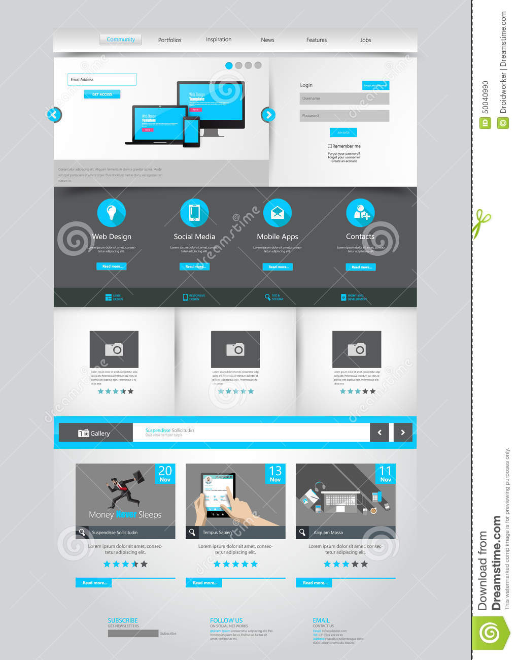 One page business website template home page design for House pictures website