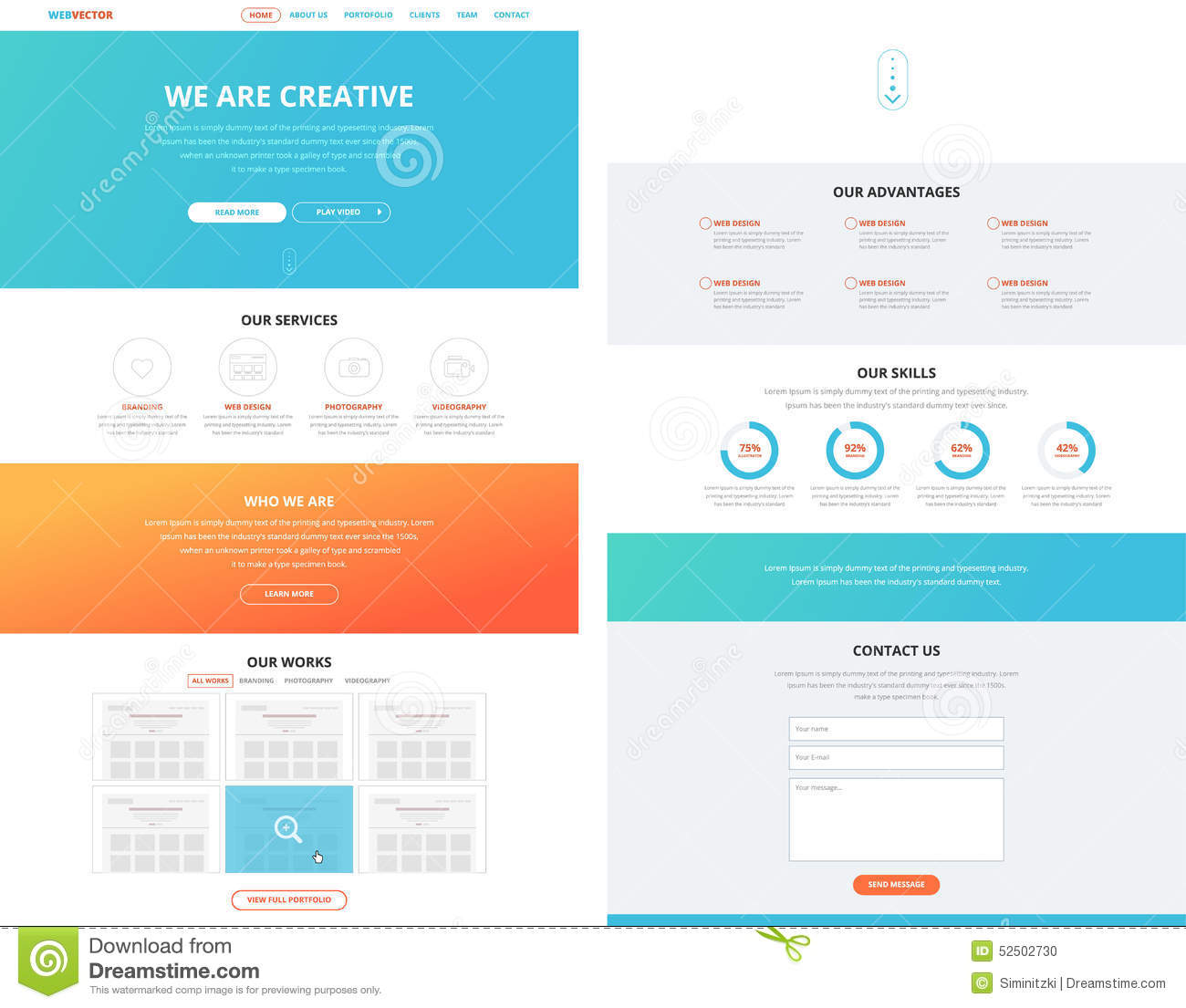 One Page Flat Website Design Template Concept Stock Vector Image 52502730