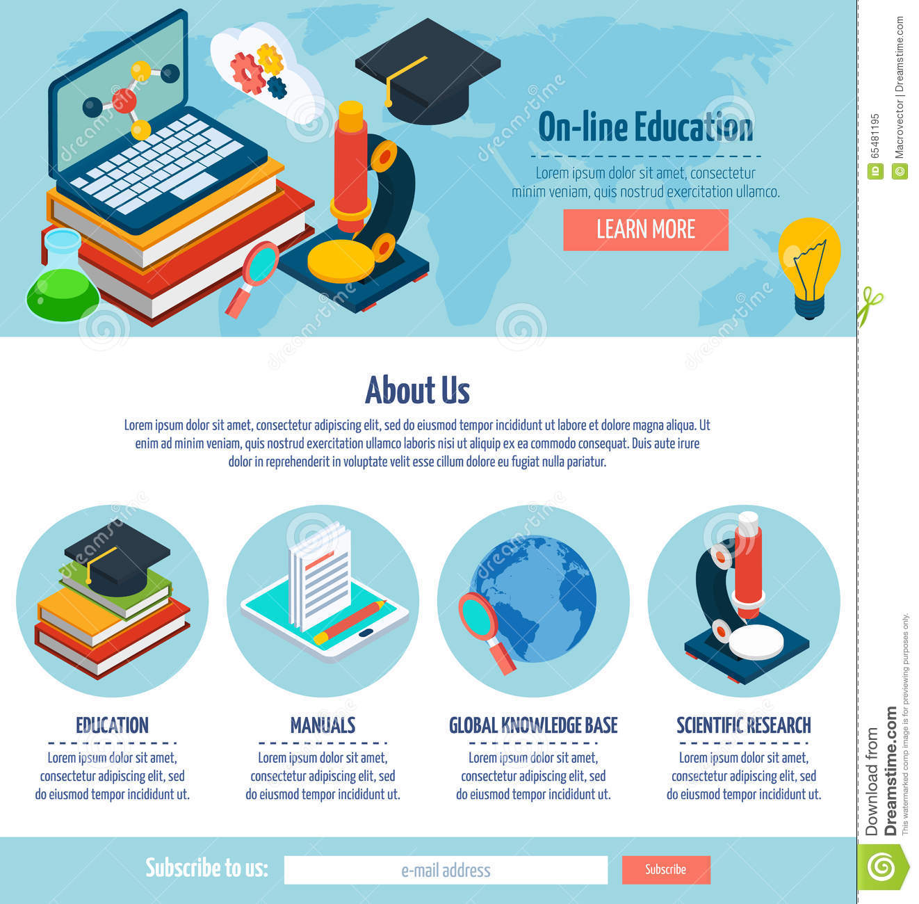 One page online education design stock vector image - How to learn web designing at home free ...