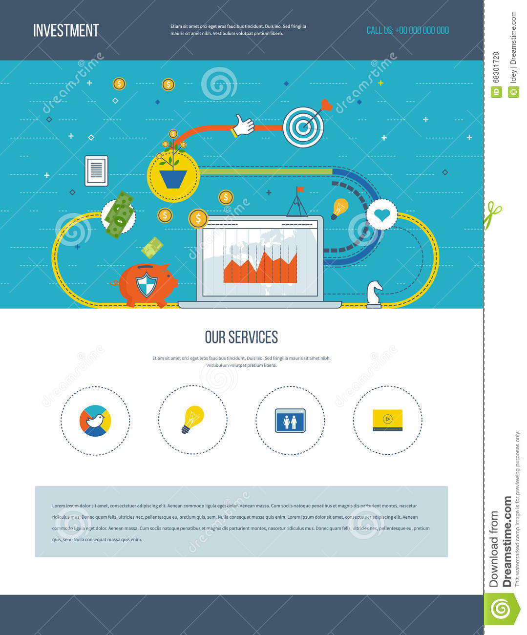 One Page Web Design Template Of Business Analysis, Financial ...
