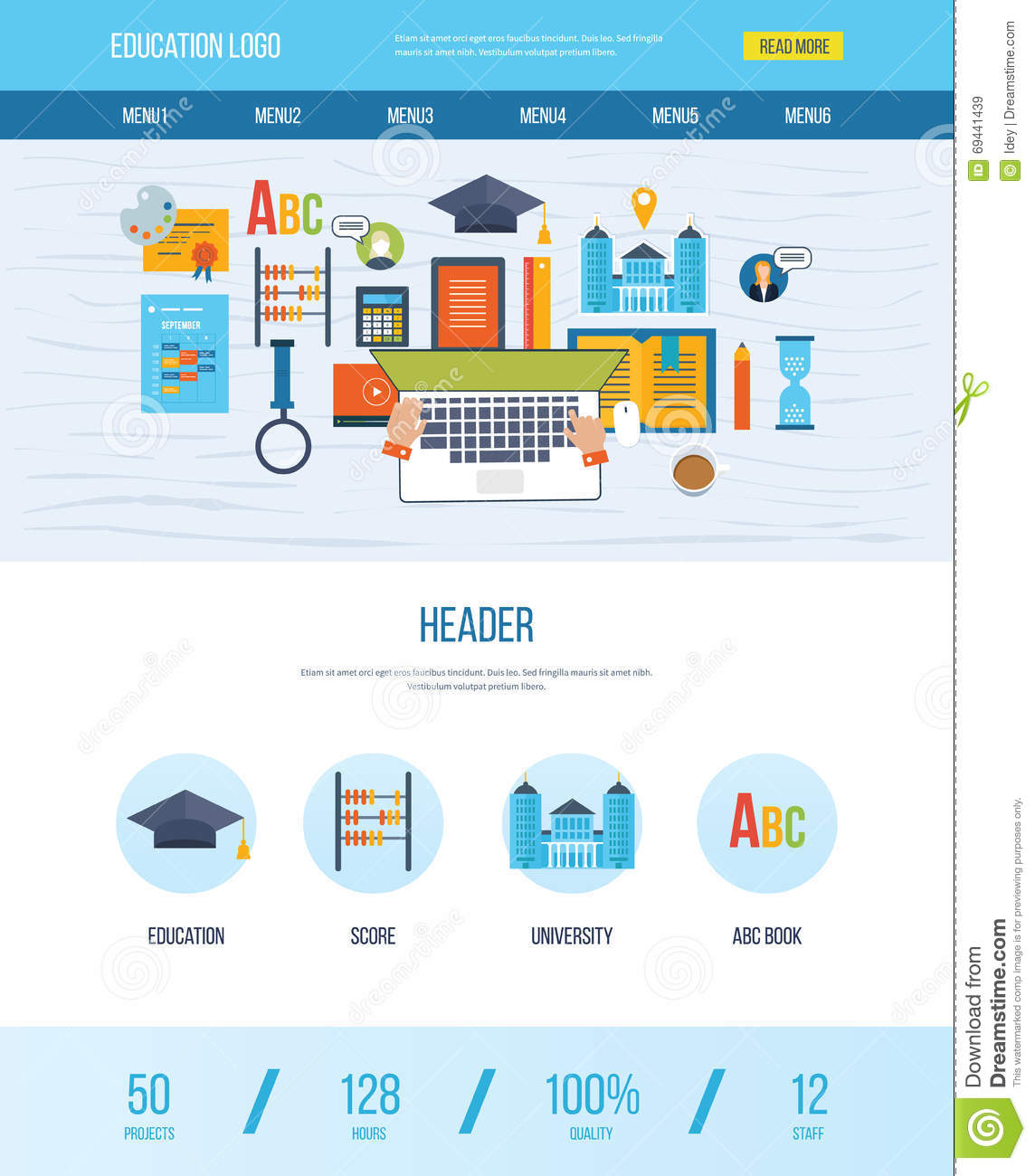 One Page Web Design Template With Icons Of Education. Stock Vector ...
