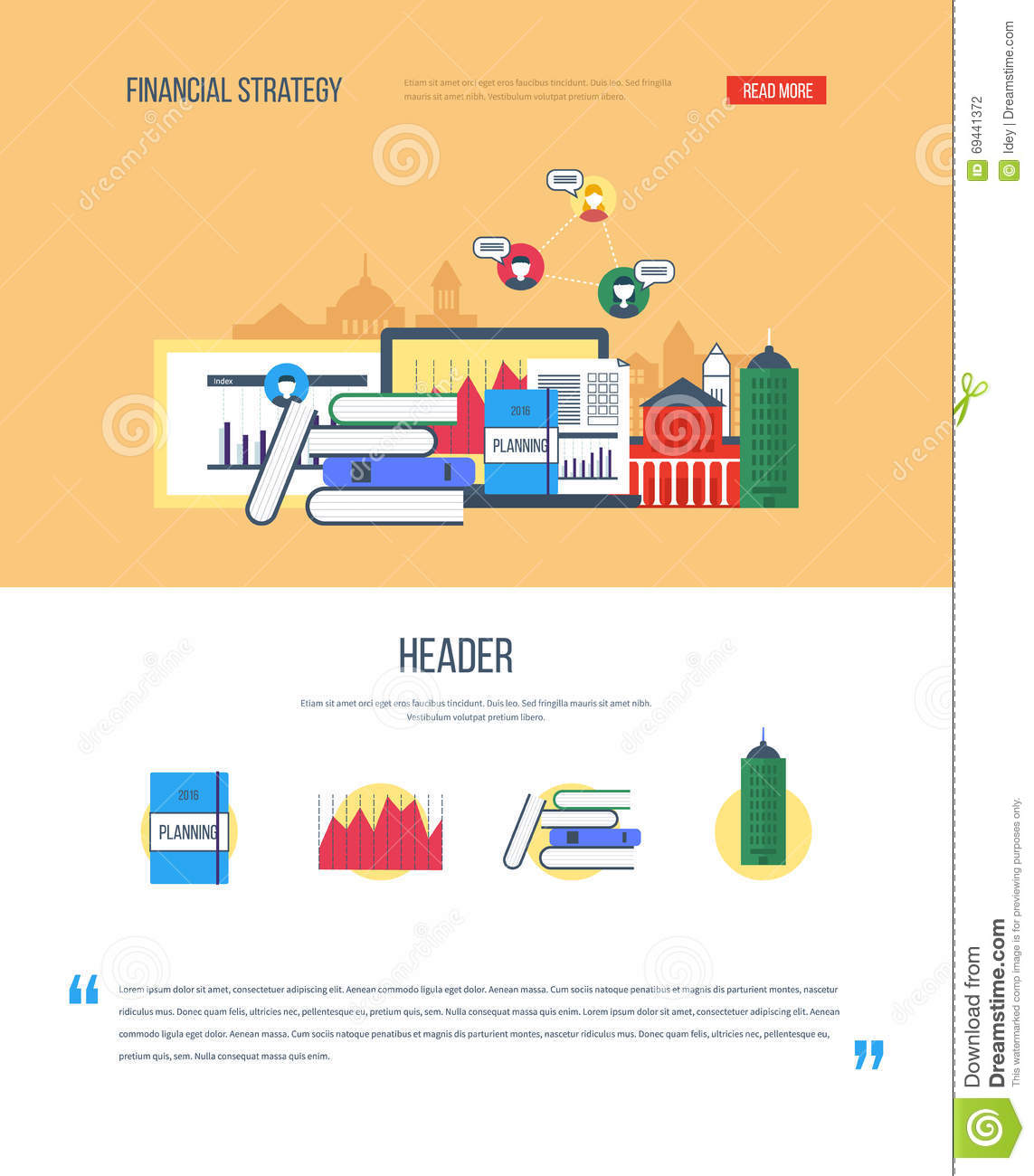 One Page Web Design Template With Icons Of Financial Strategy ...