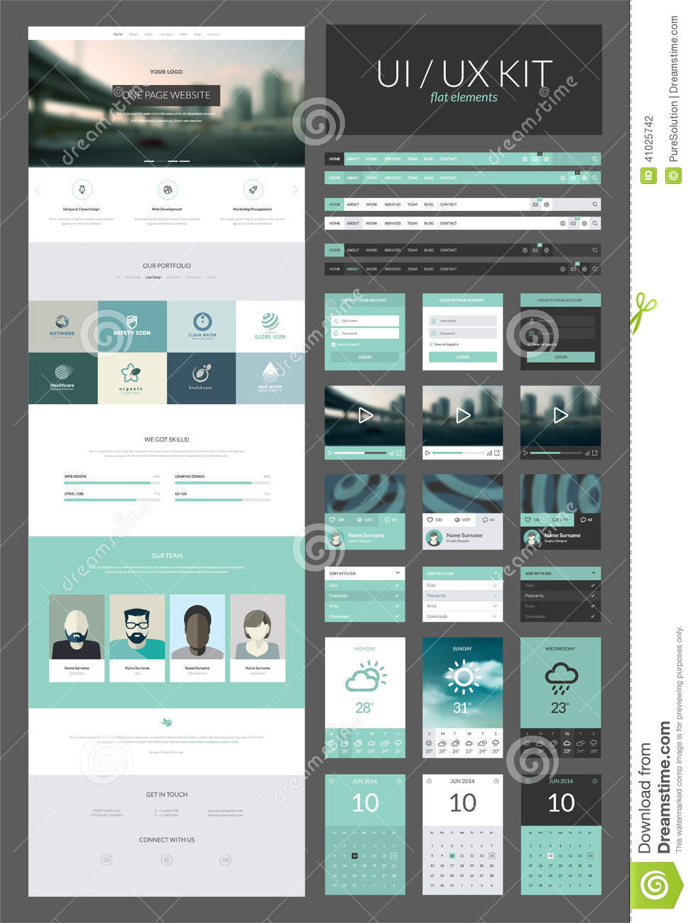one page website design template stock illustration