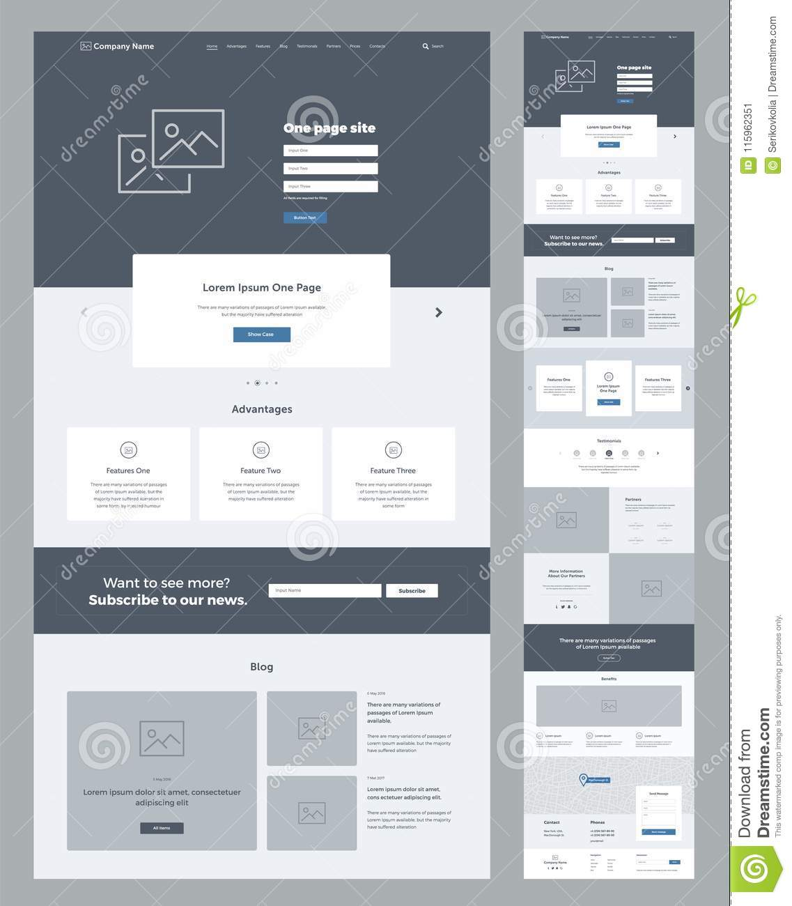 One page website design template for business. Landing page wireframe. Flat modern responsive design. Ux ui website.
