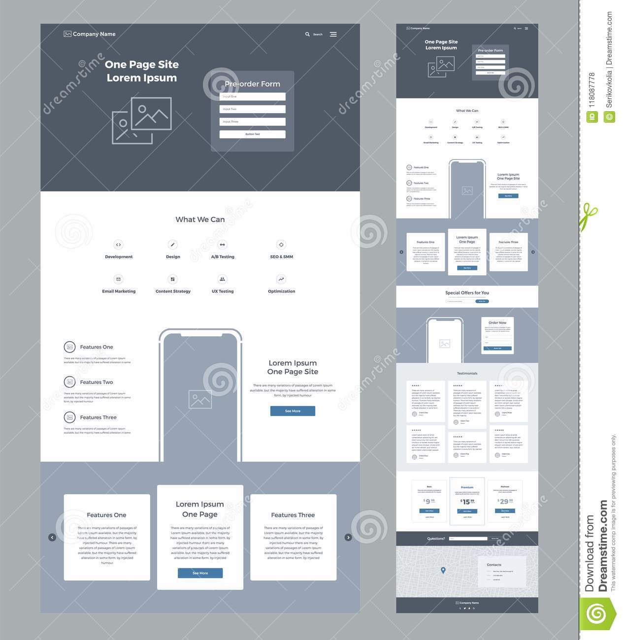 One Page Website Design Template For Business Landing Page
