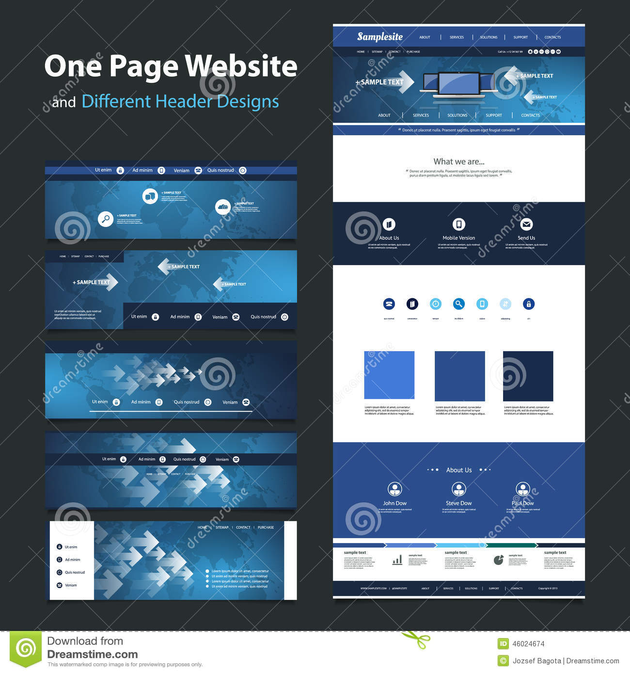 One Page Website Design Template And Different Headers Stock