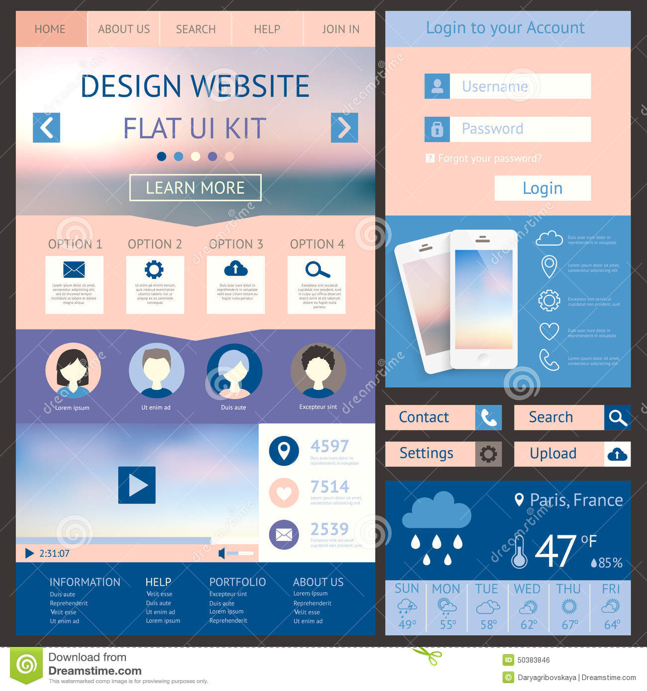 Vector Illustration Web Designs: One Page Website Design Template, Flat Ui Kit. All Stock