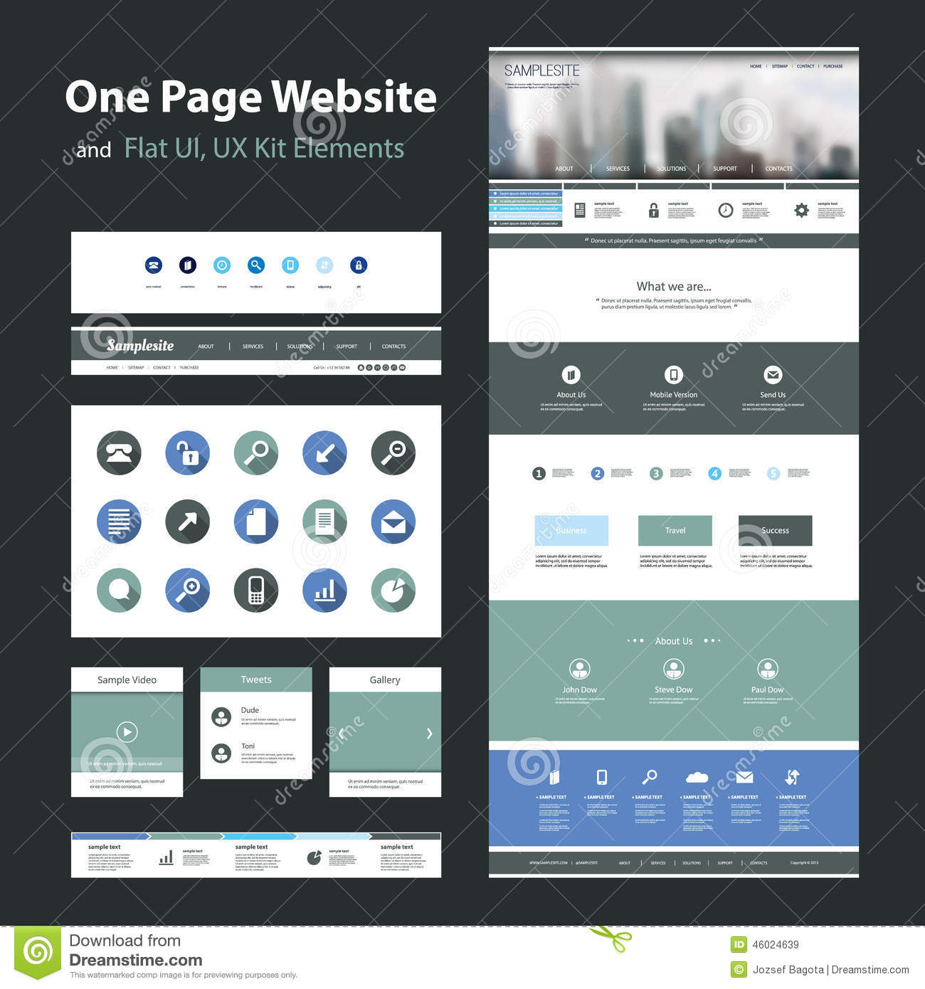 one page website design template and flat ui ux elements stock