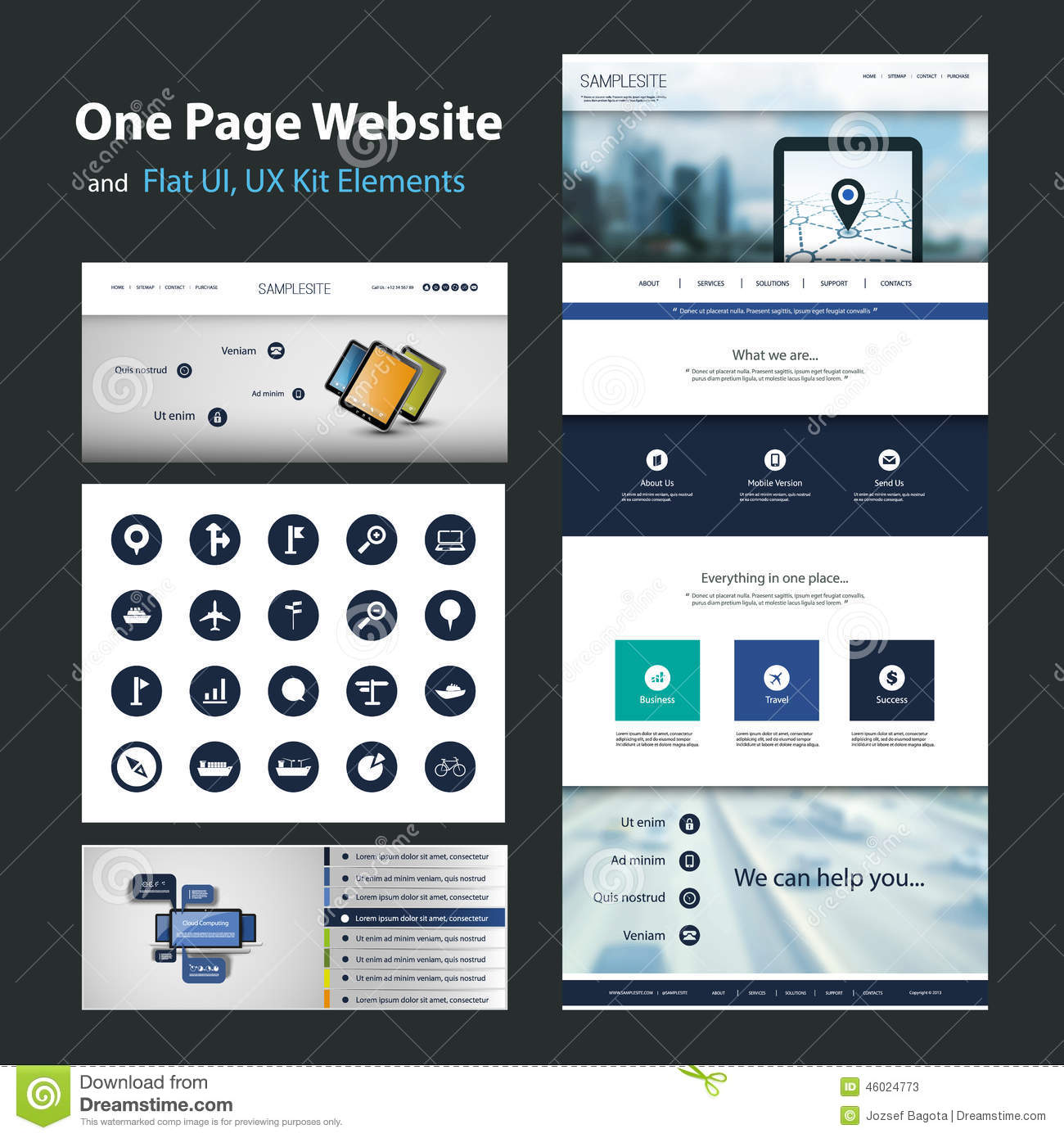 One page website design template and flat ui ux elements for User interface design document template