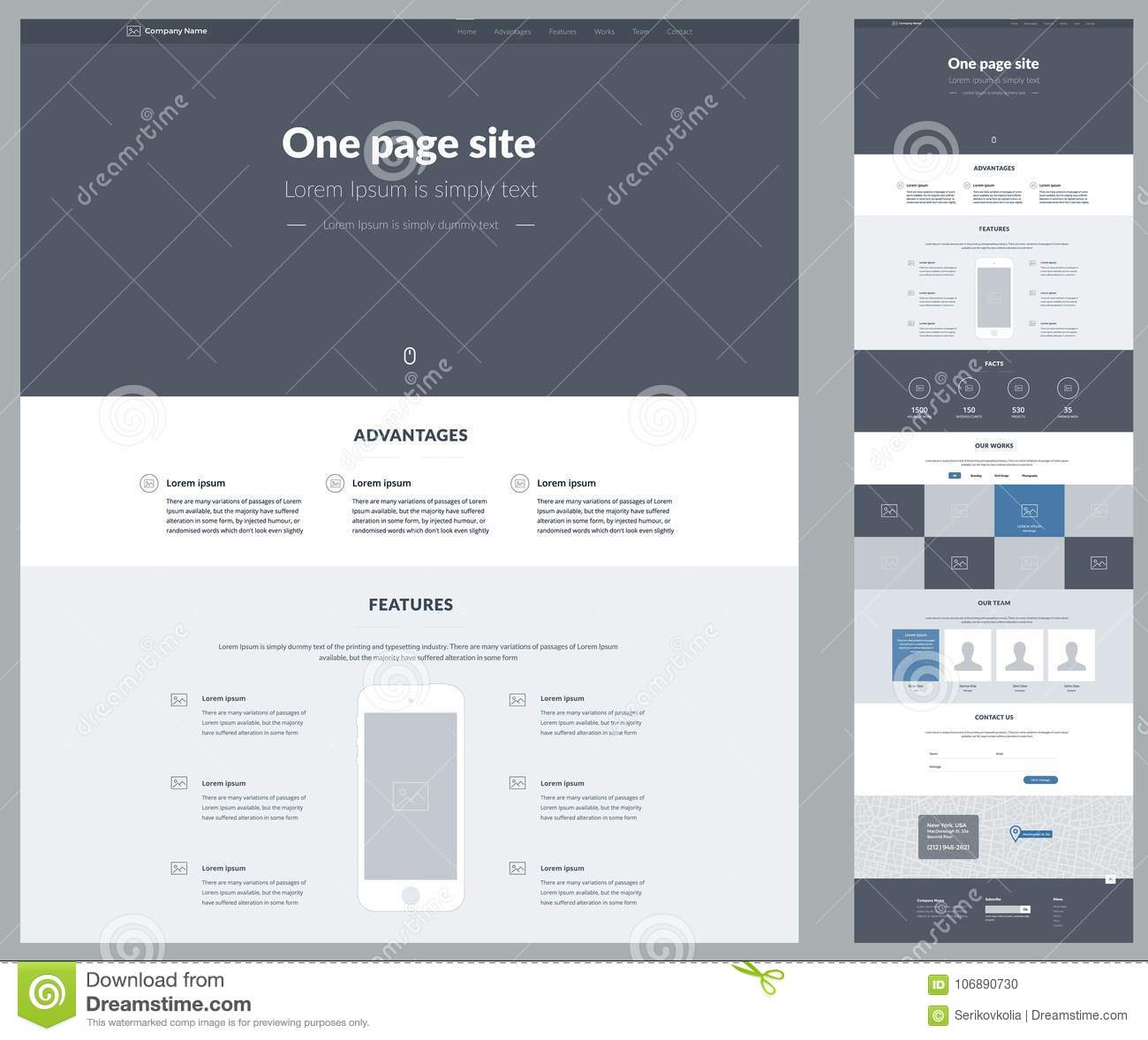 One page website design template for your business. Landing page wireframe. Ux ui website design. Flat modern responsive design il