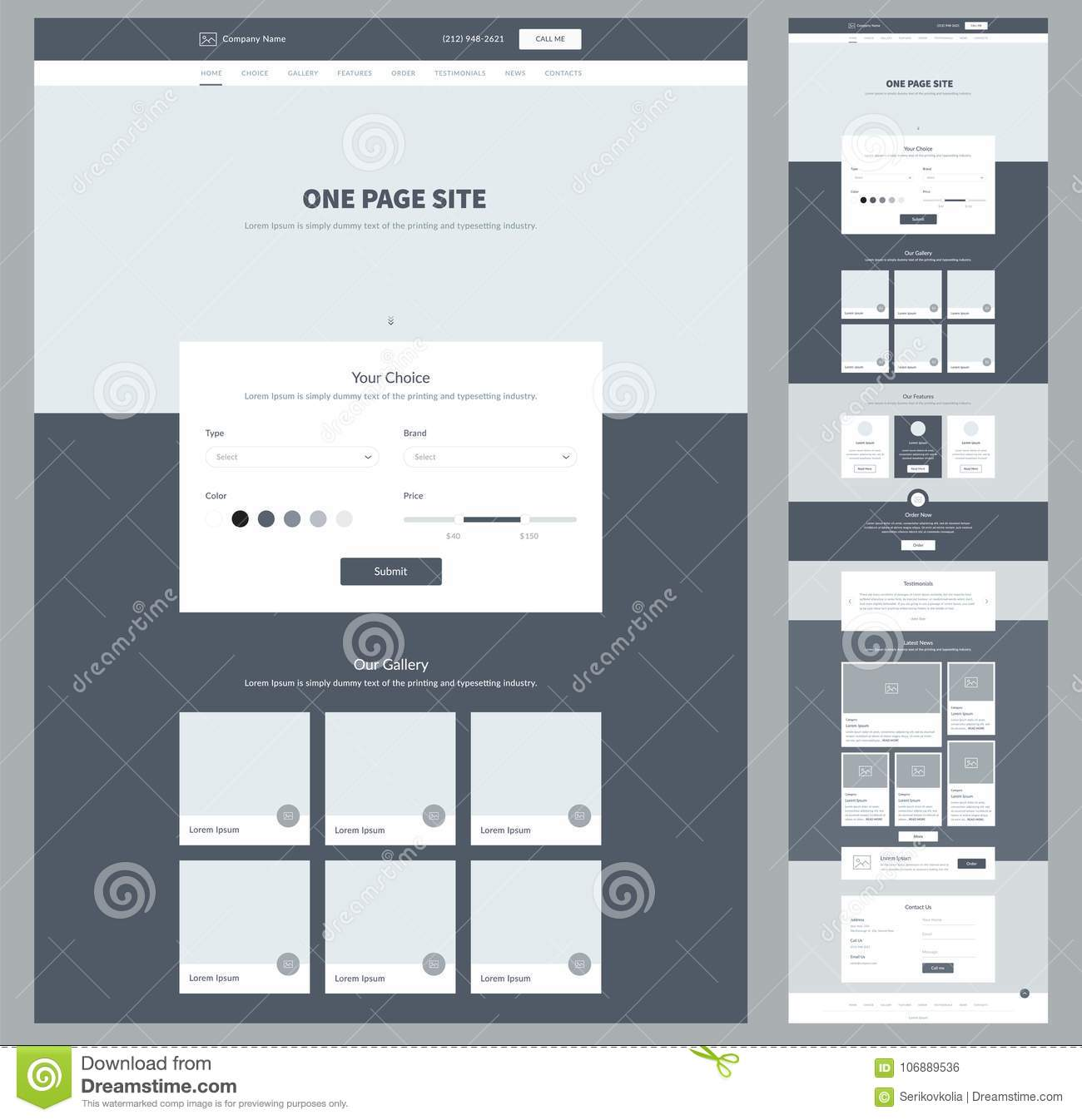Responsive Web Design In Modern Flat Vector Style Concept: One Page Website Design Template For Your Business