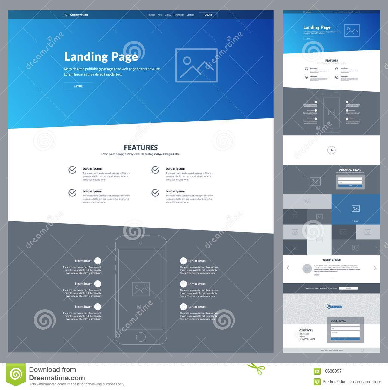 One page website design template for your business. Landing page wireframe. Ux ui website design. Flat modern responsive design.