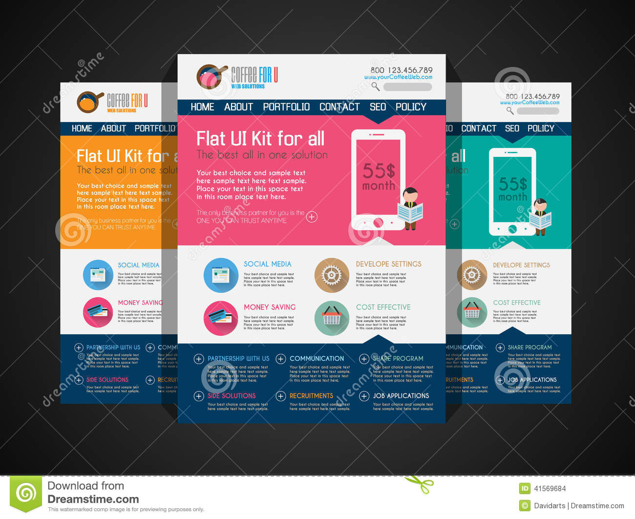 One Page Website Flat UI Design Template  Stock Vector