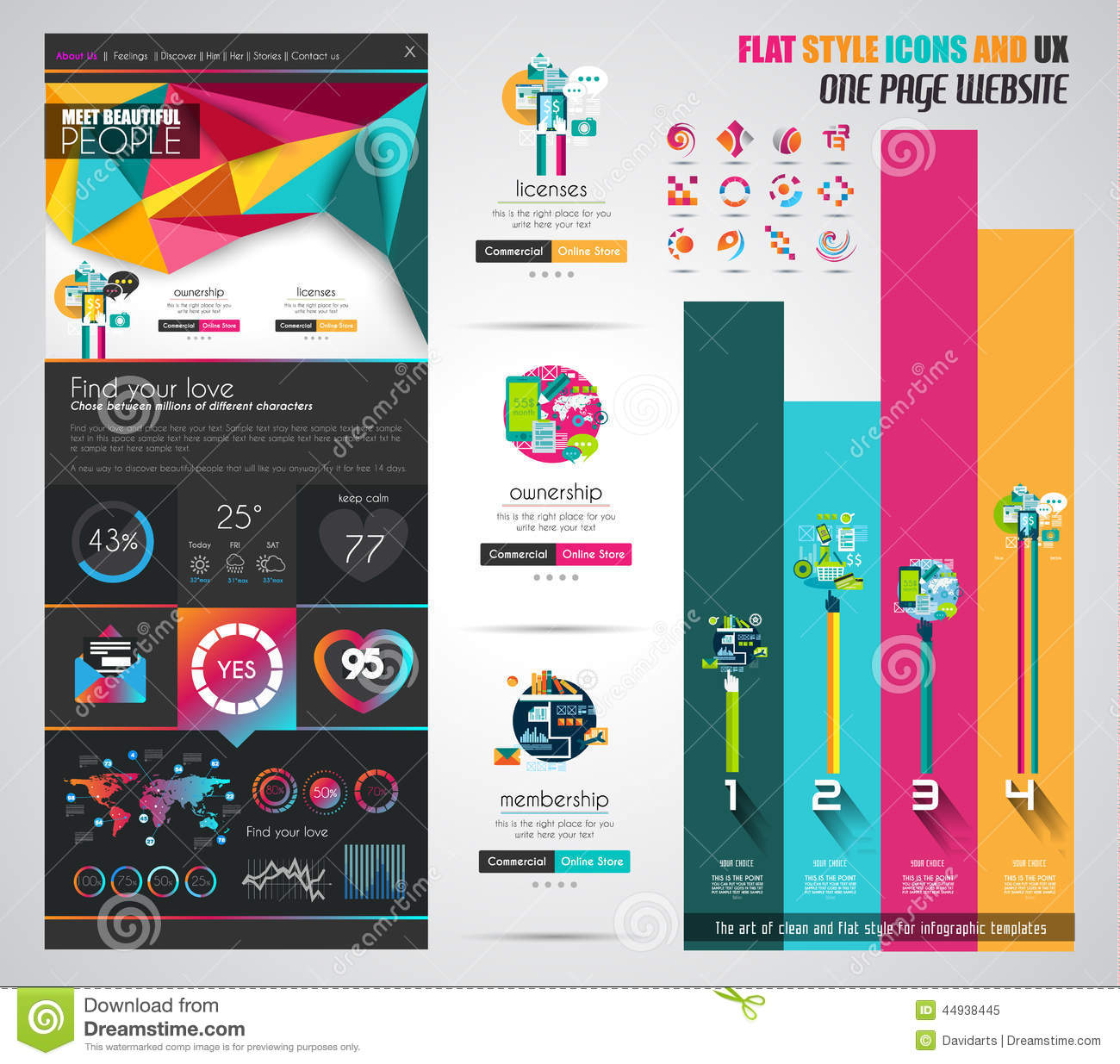 one page website flat ui design template stock vector illustration