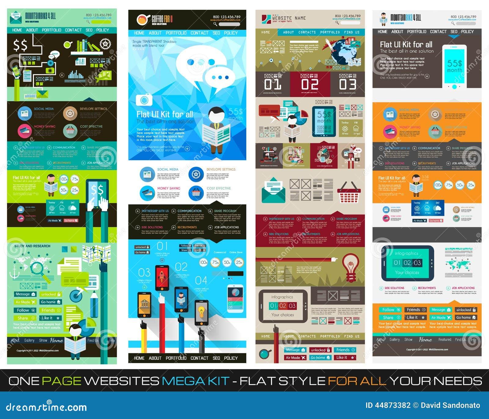 One page website flat UI design template SET 1.