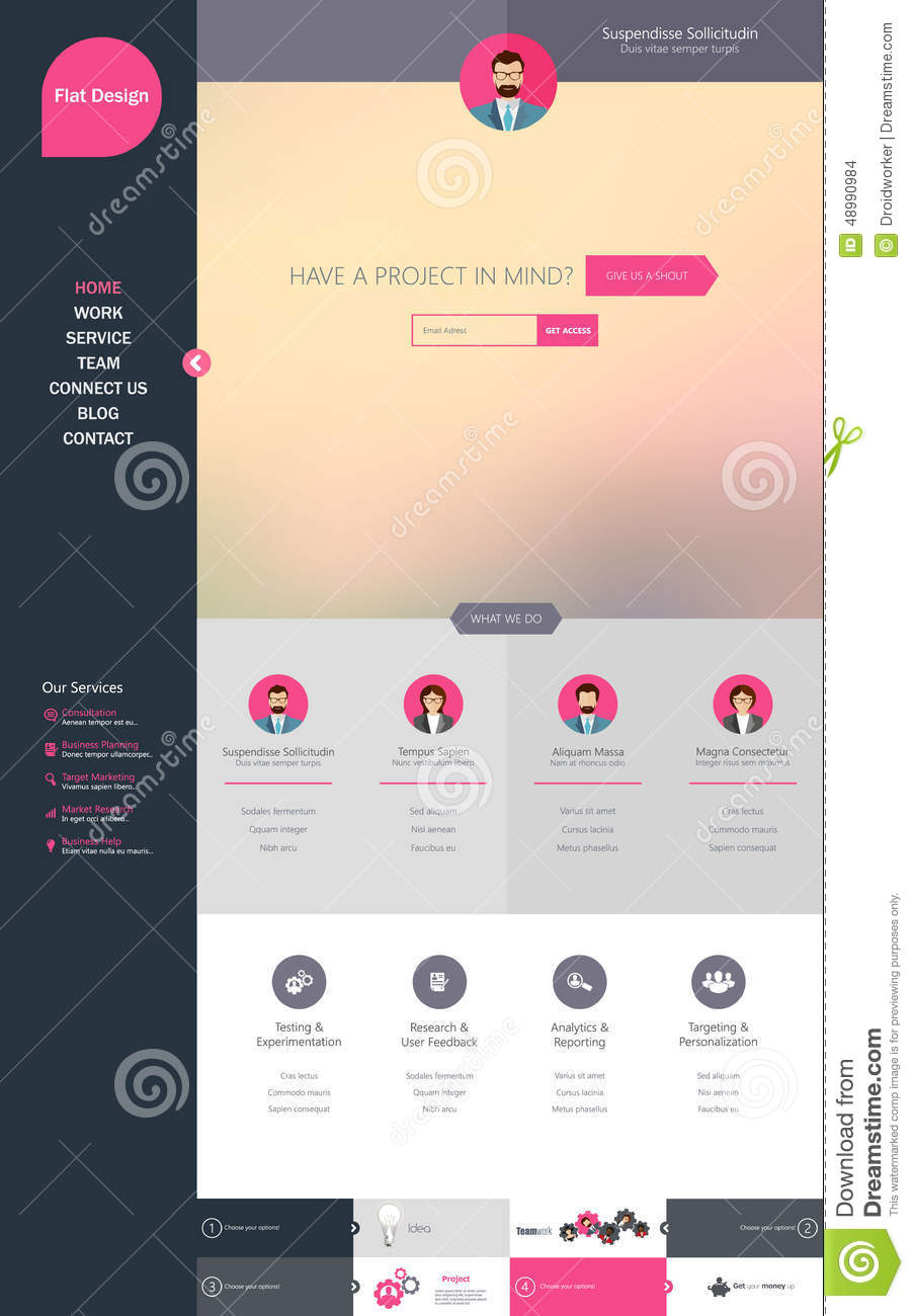 One page website template creative flat design stock vector one page website template creative flat design friedricerecipe Images