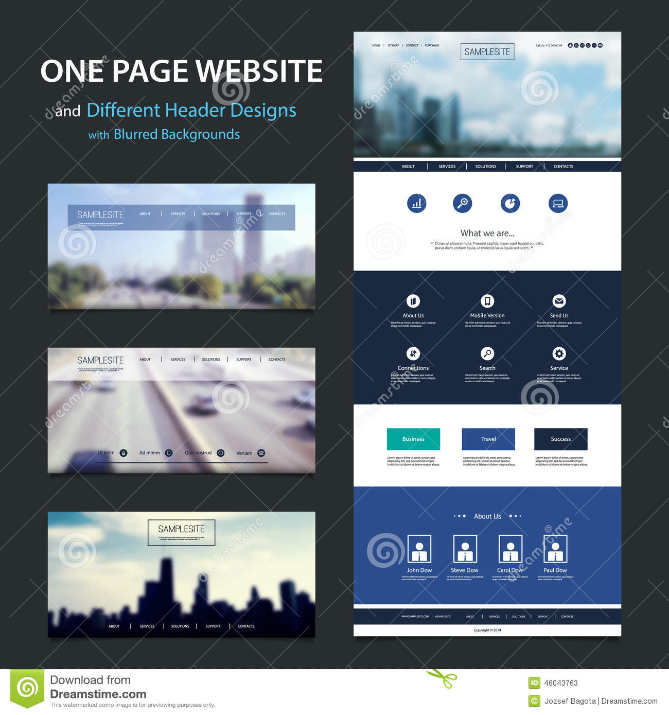 One Page Website Template And Different Header Designs With Blurred Homepage Web Design Header on web based design, web time design, web column design, web panel design, web link design, cool web design, web colors design, web module design, web design backgrounds, web source design, green web page design, web switch design, web line design, web search design, web address design, web filter design, web fonts design, website headings design, web truss design, web html design,