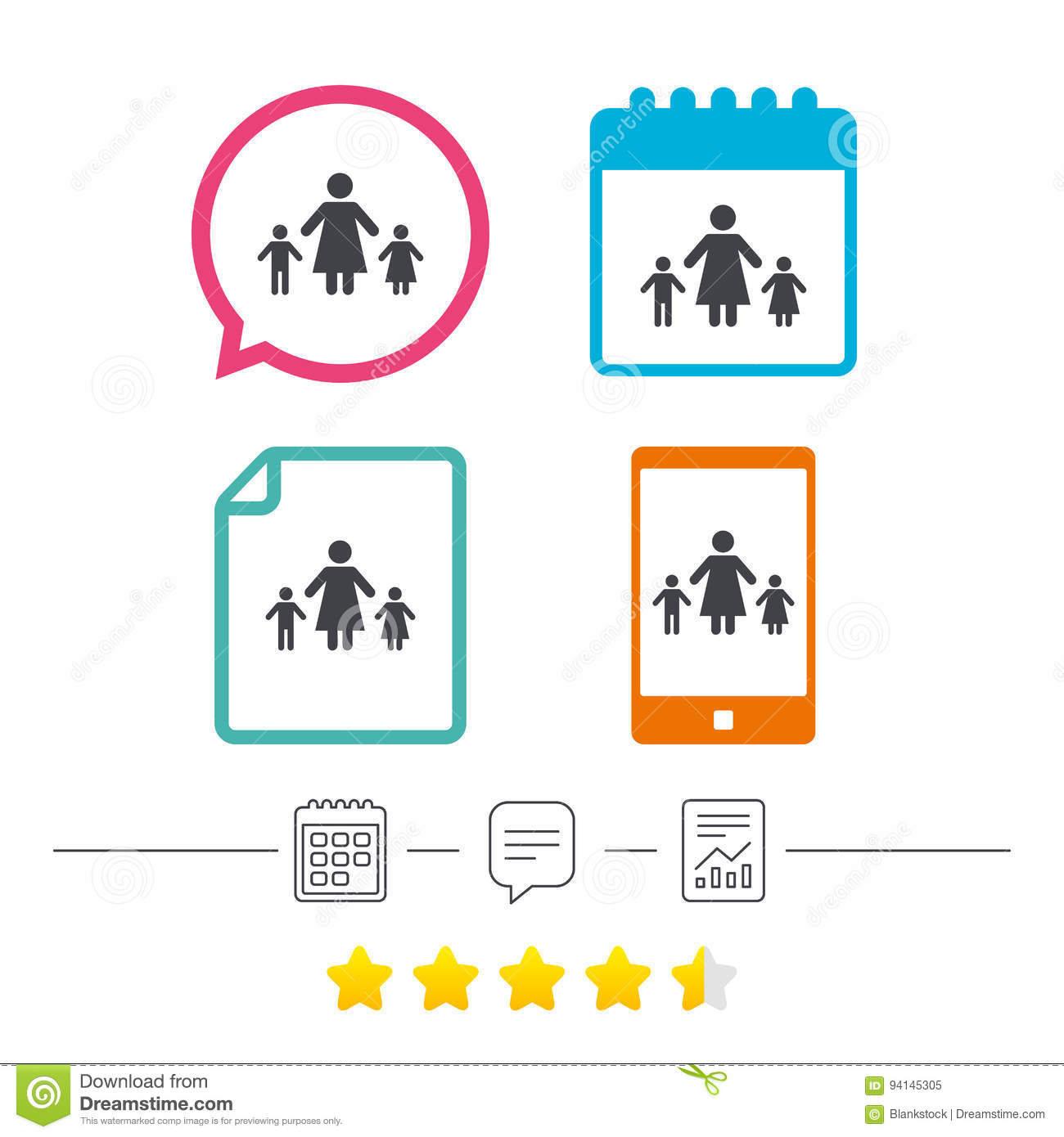 One Parent Family With Two Children Sign Icon Stock Vector