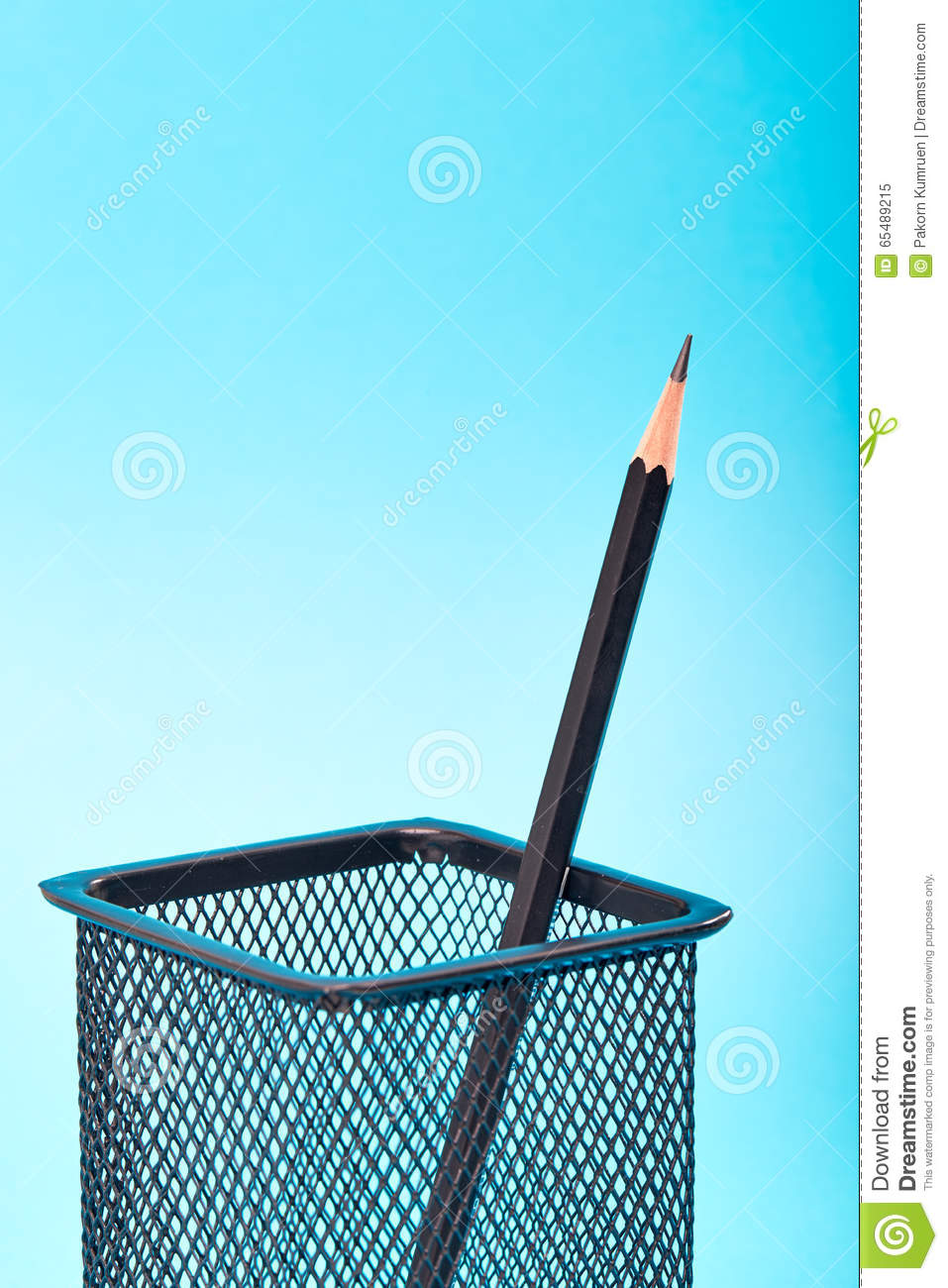 One pencil in a wire mesh stock image. Image of holder - 65489215