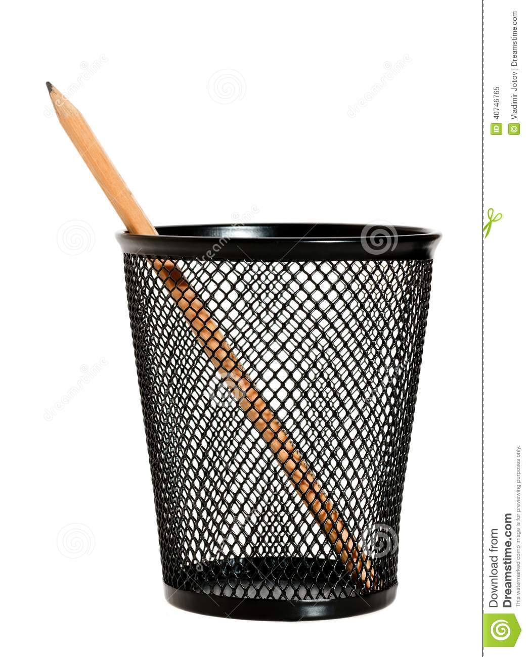 One Pencil In A Wire Mesh Pencil Holder. Stock Image - Image of ...