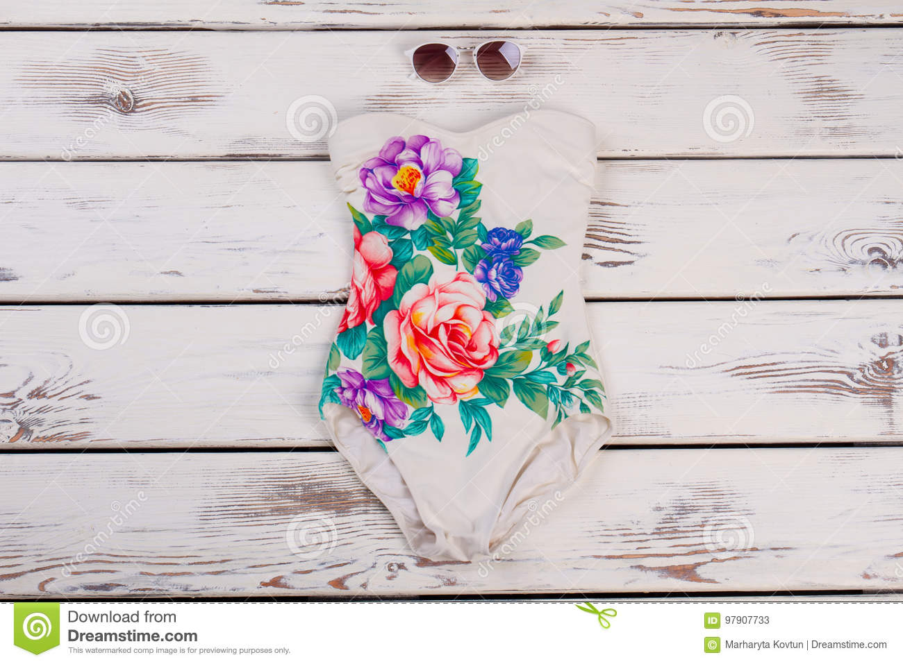 One Piece Swimming Costume Stock Image Image Of Floral Female