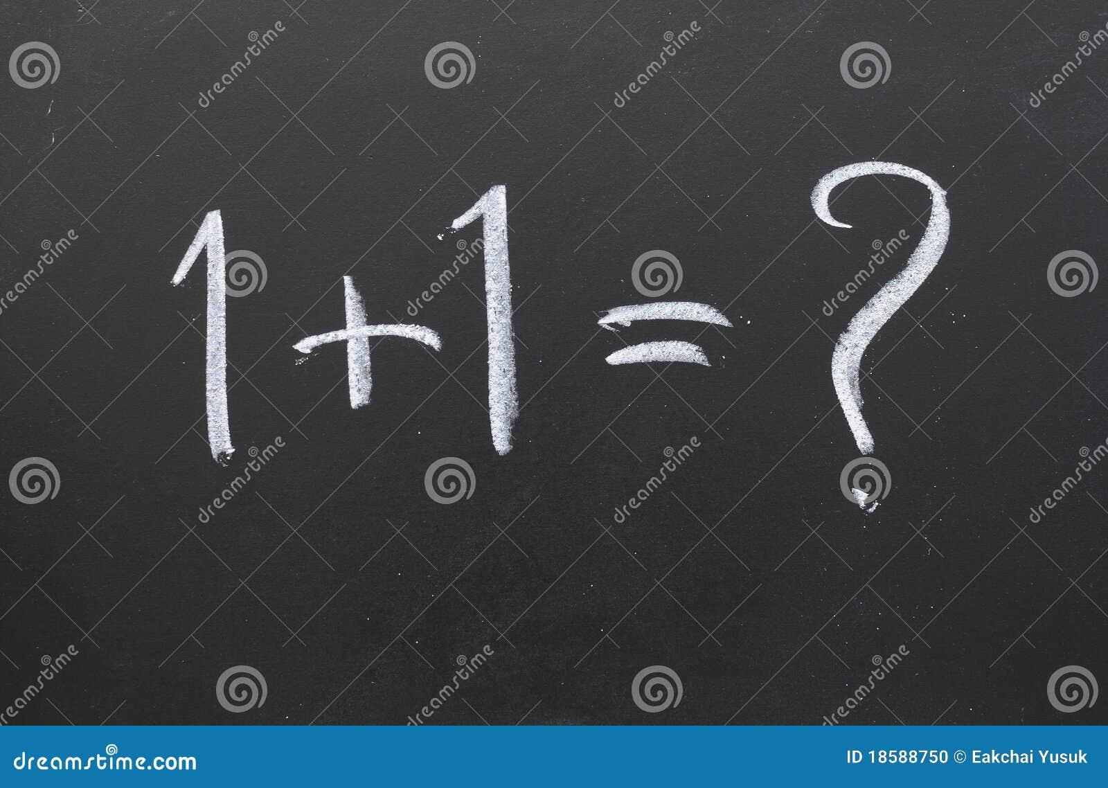 One plus one on a blackboard