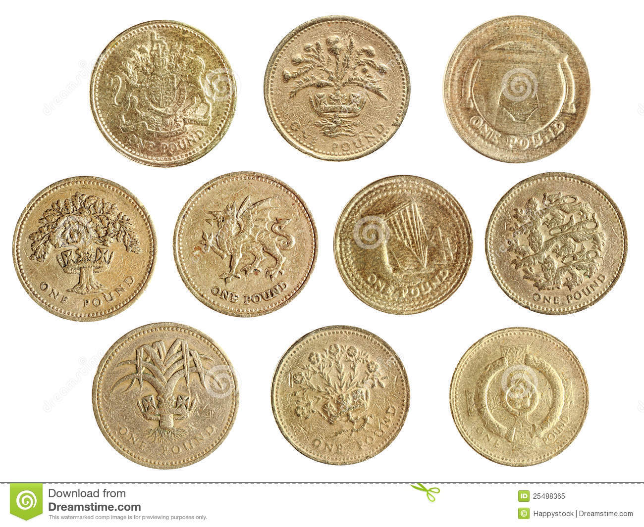 One Pound Coin Collection Royalty Free Stock Photo Image