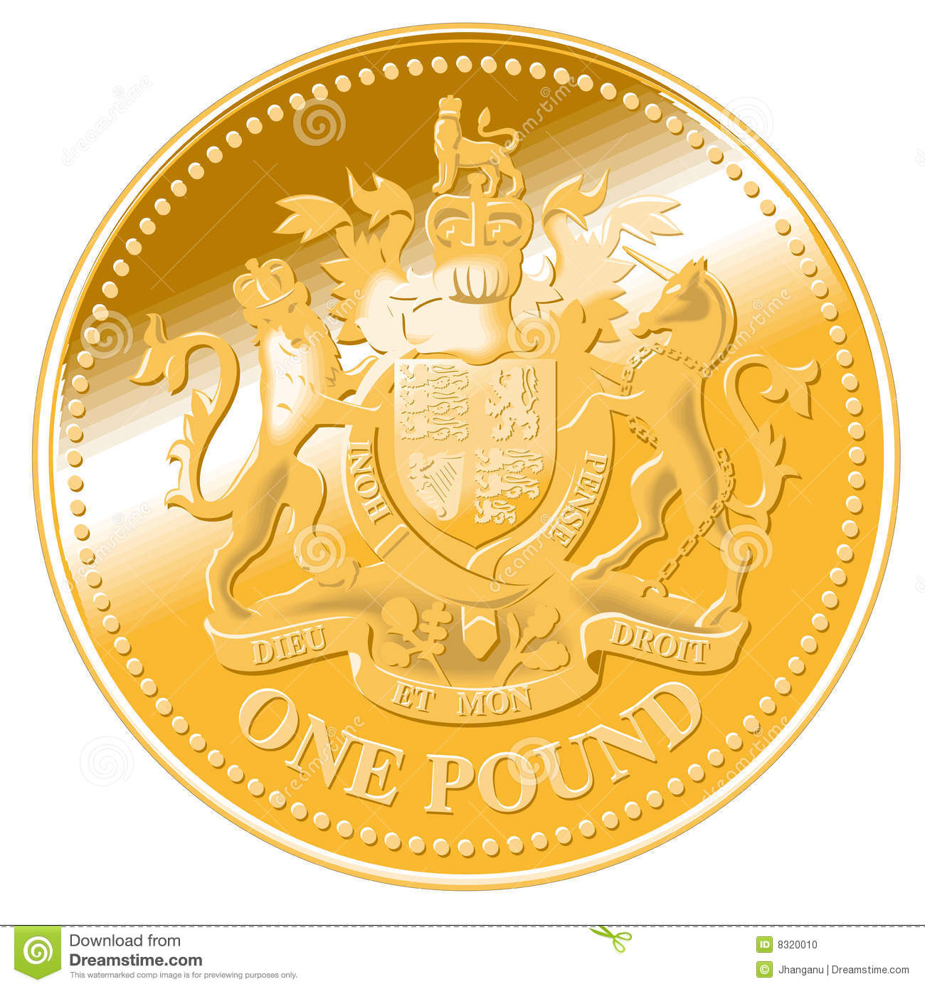 One pound detailed vector coin