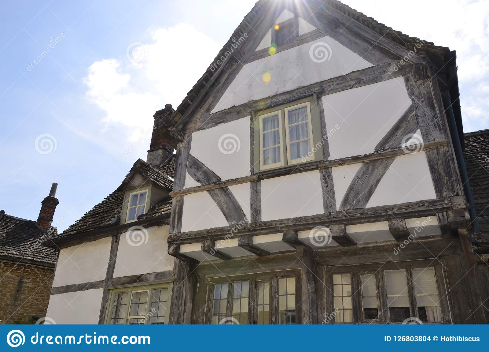 Historic Timber Frame Building At Lacock Village Stock Photo