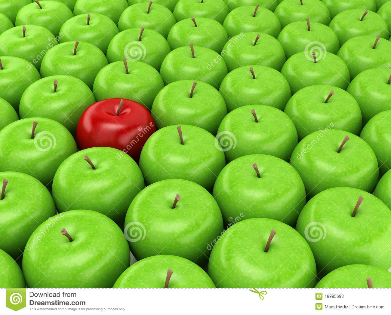 one red apple on a background of green apples stock photos image 18995693. Black Bedroom Furniture Sets. Home Design Ideas