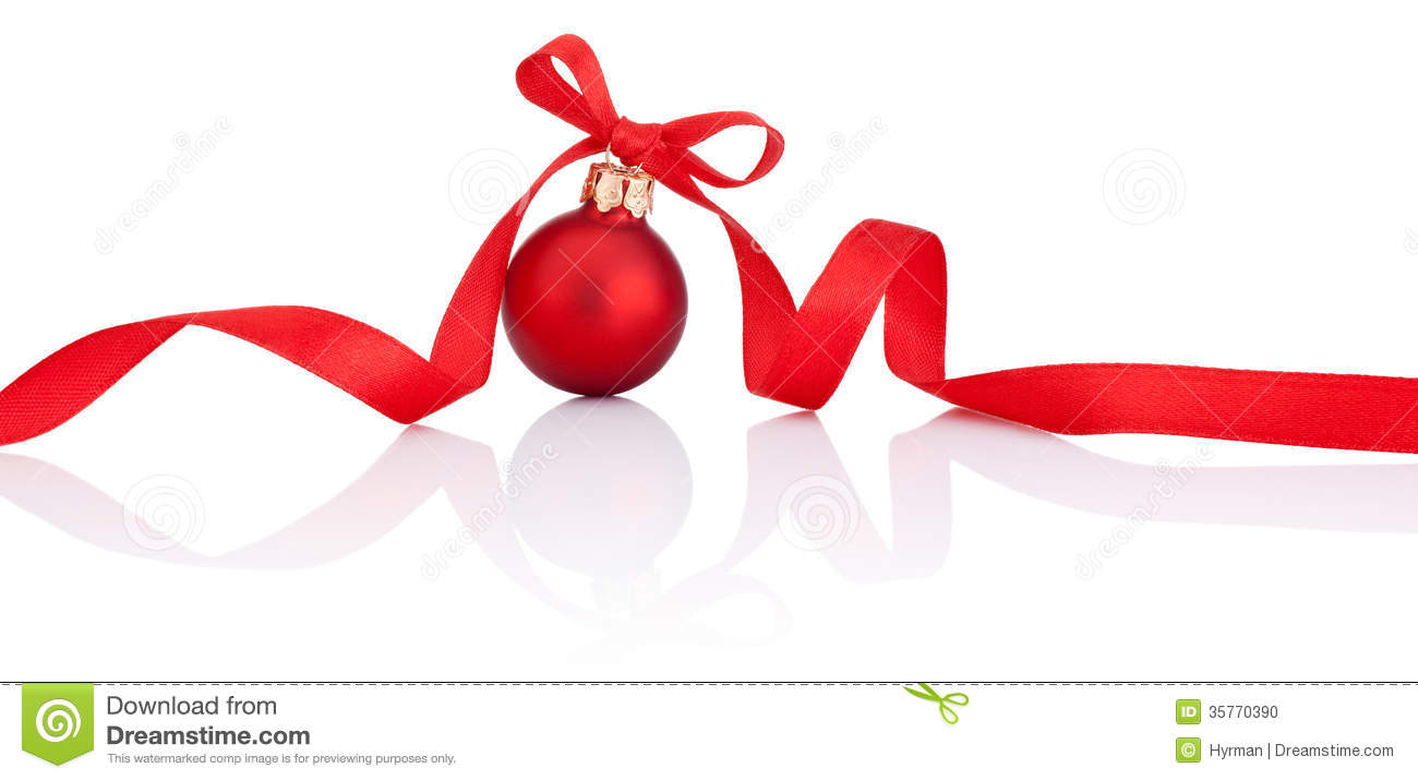 One Red Christmas ball with ribbon bow Isolated on white