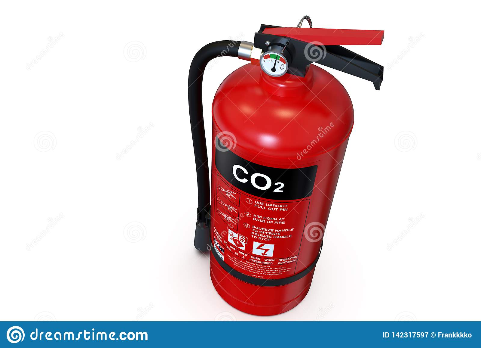 Single Red CO2 Fire Extinguisher Stock Image - Image of
