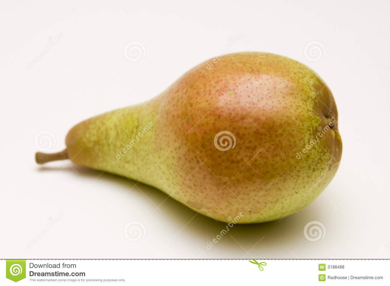 One red-green pear