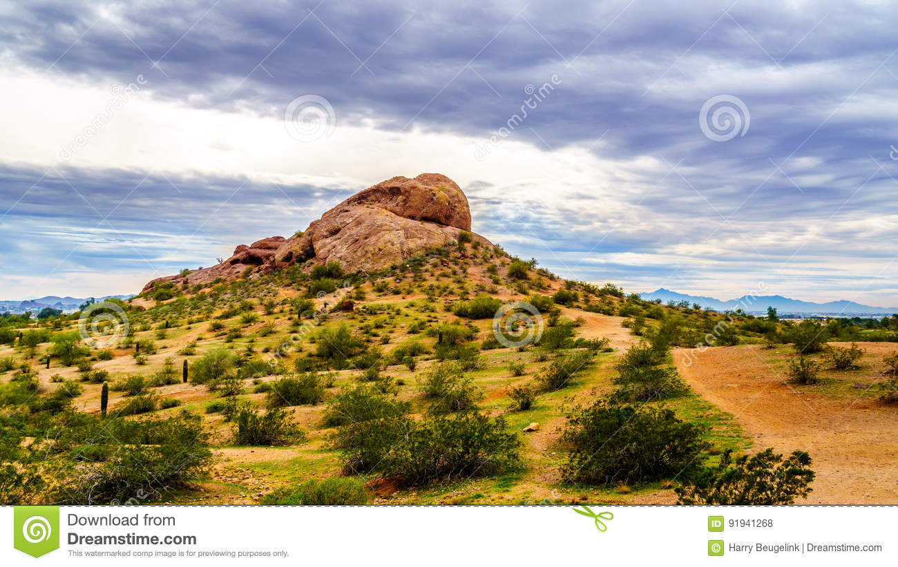 One Of The Red Sandstone Buttes Of Papago Park Near Phoenix Arizona ...