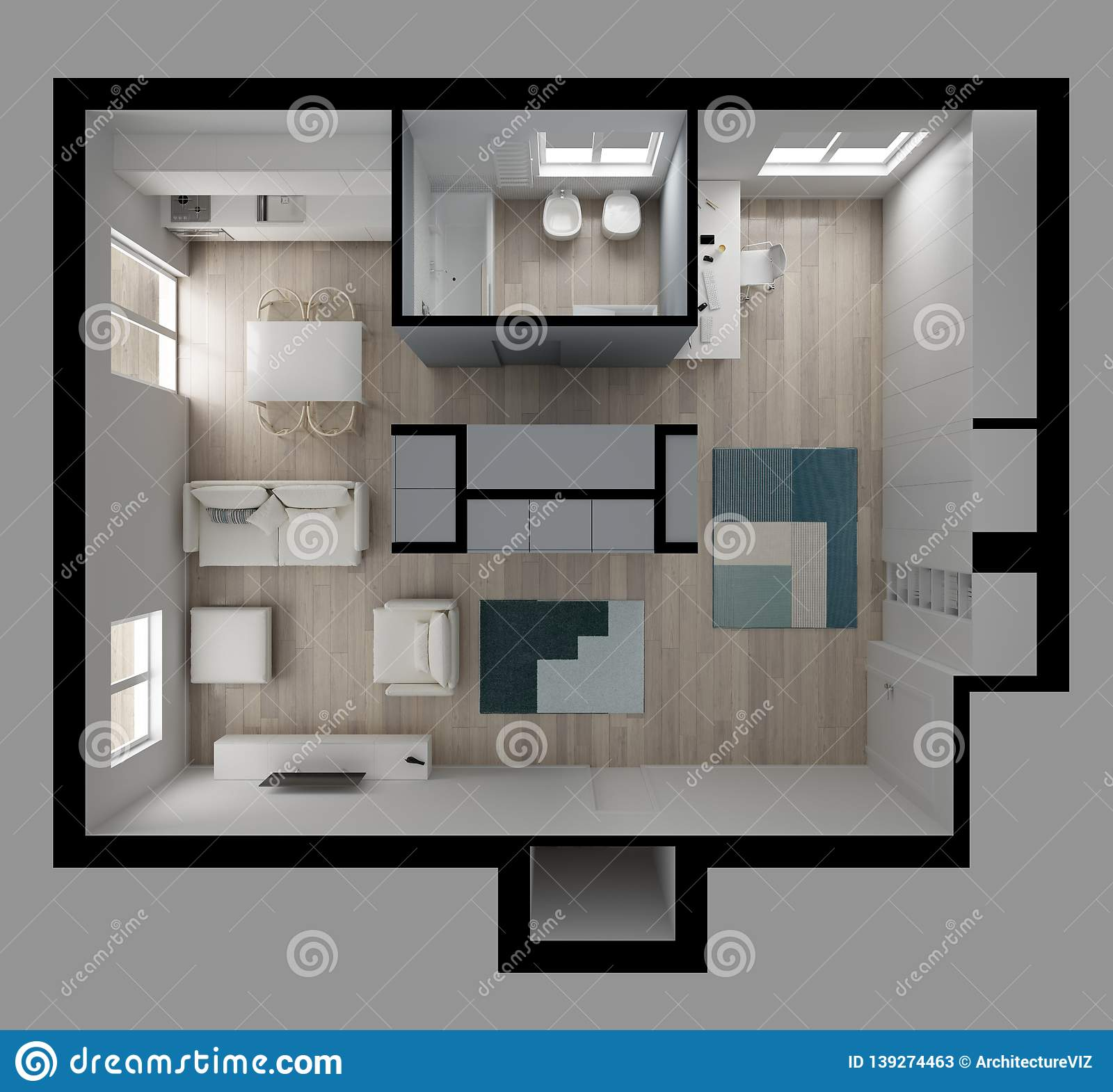 Flat Apartment: One Room Apartment Flat Top View, Furniture And Decors
