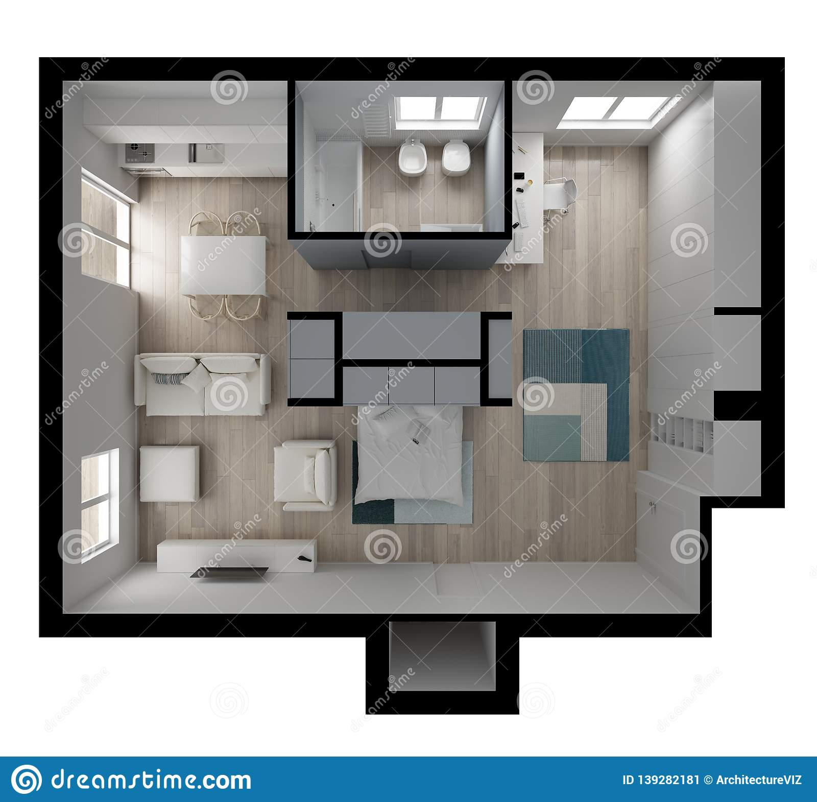 One Room Apartment Flat Top View Murphy Bed Furniture And Decors Plan Cross Section Interior Design Architect Designer Stock Image Image Of Architecture Floor 139282181