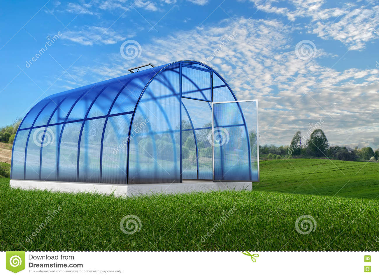 Sensational One Round Greenhouse In Summer Stock Illustration Home Interior And Landscaping Dextoversignezvosmurscom