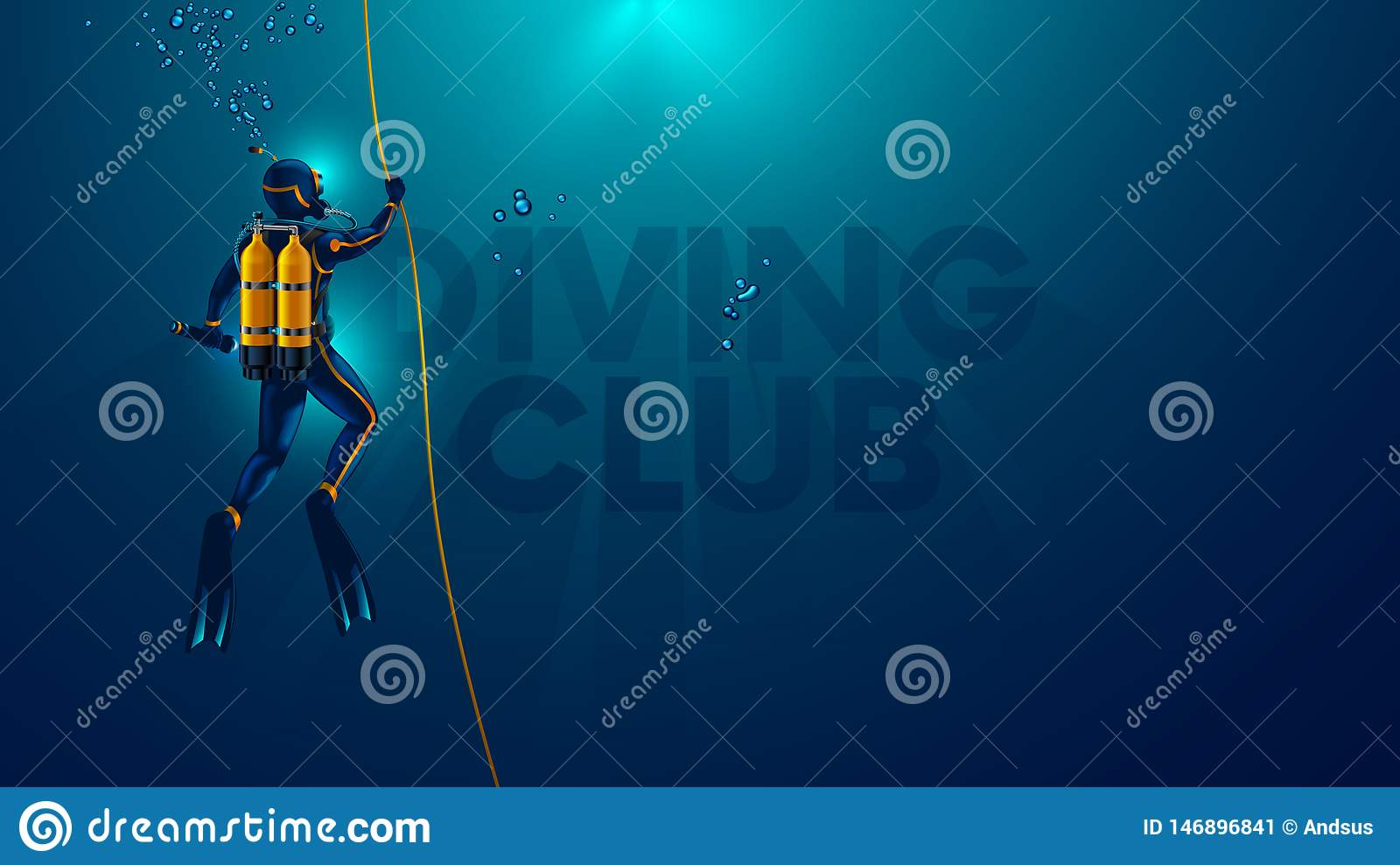 One scuba diver underwater. Back view. Logo diving club underwater. Diver dives to the bottom of the sea,