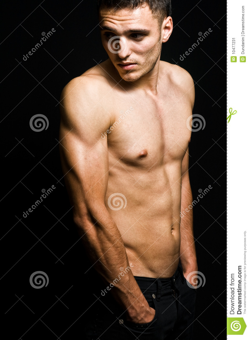 One shirtless cool masculine young man
