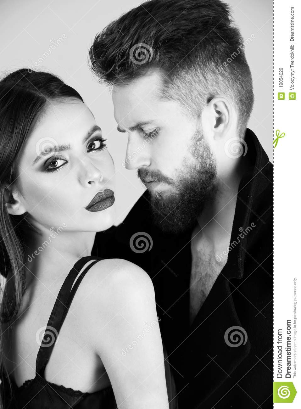 One Sided Love Beautiful Fashion Couple In Love On Green Background